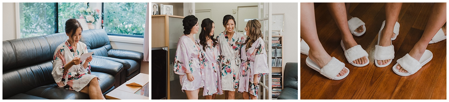 Bride and Bridesmaids posing in their robes and slippers
