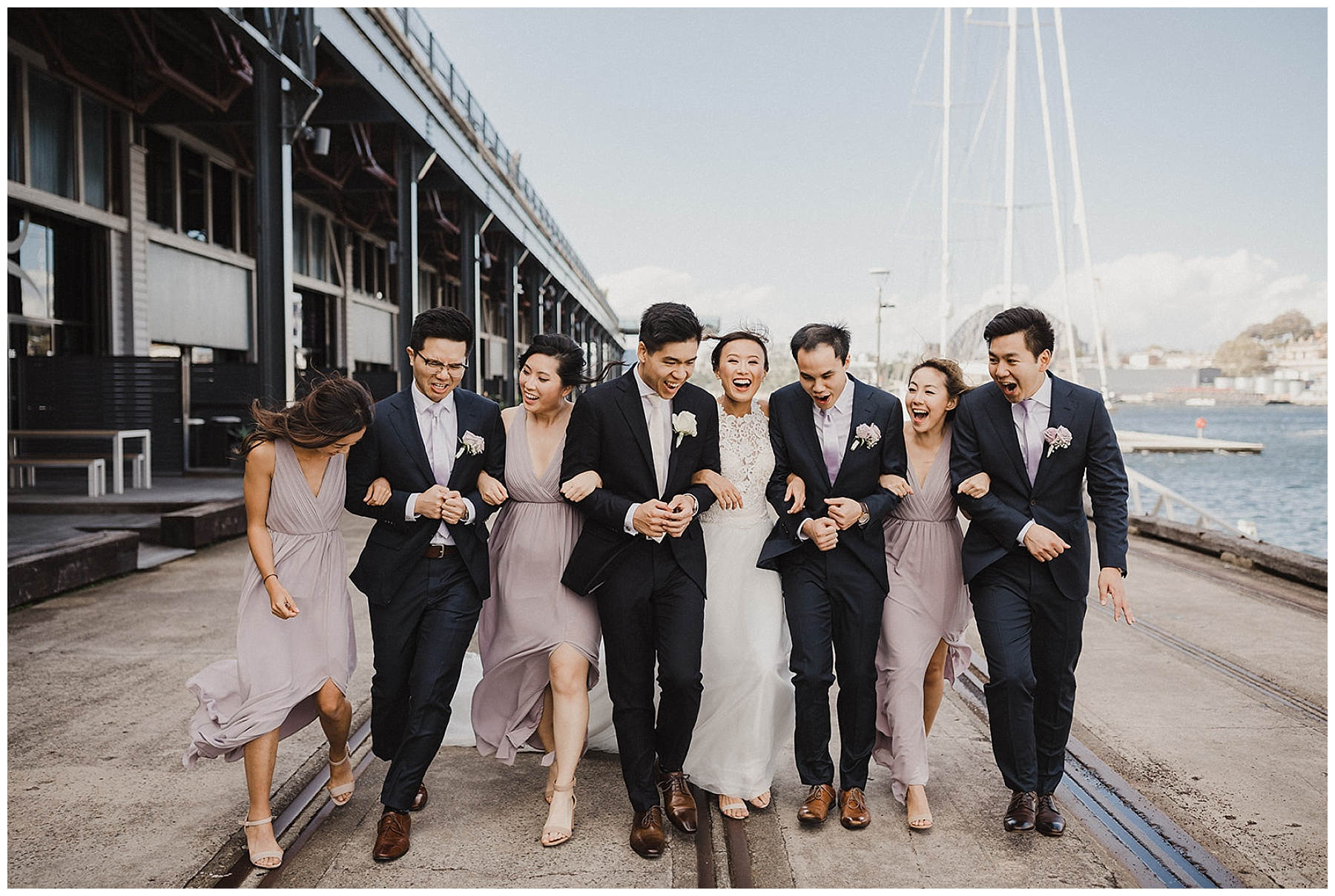 Candid photography of Sydney Bride and Groom and their wedding party