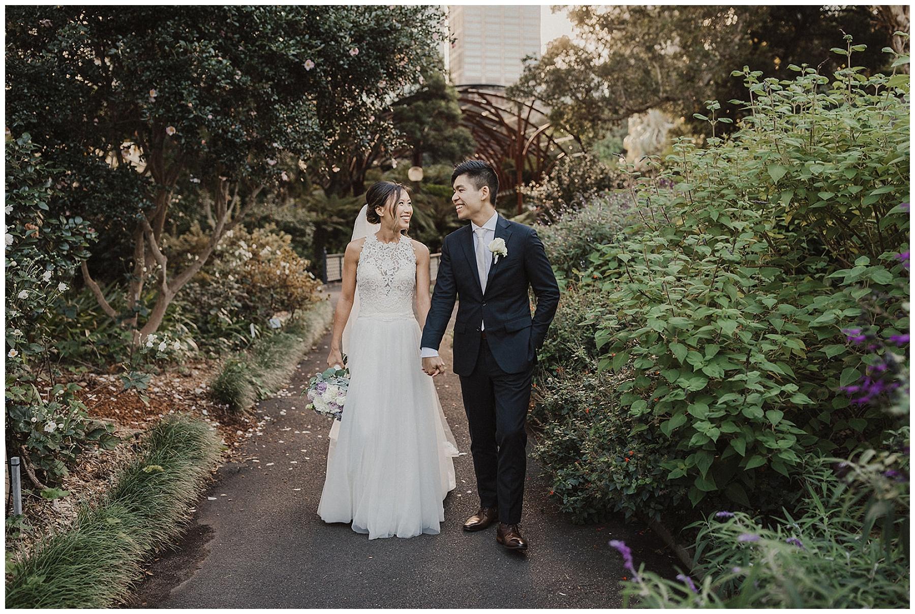 Sydney Bride and Groom in garden setting