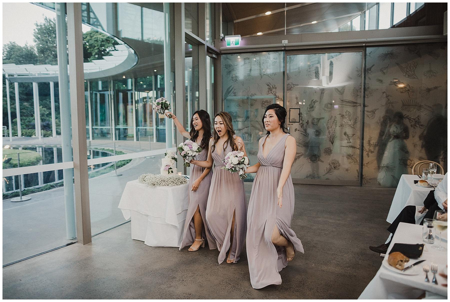 Bridesmaids entrance to wedding reception