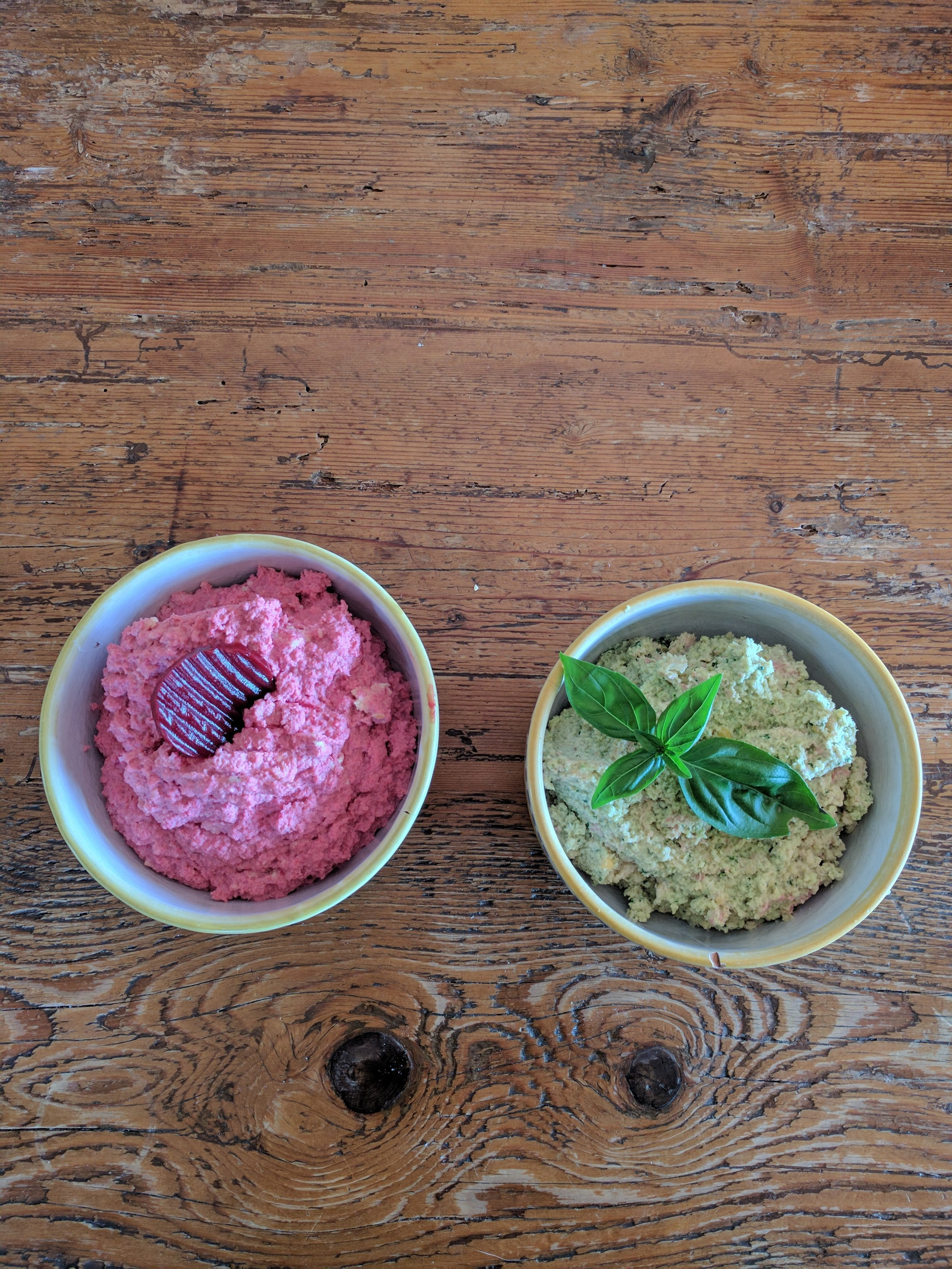 We've made some hummus with basil and another with beetroot - yum!