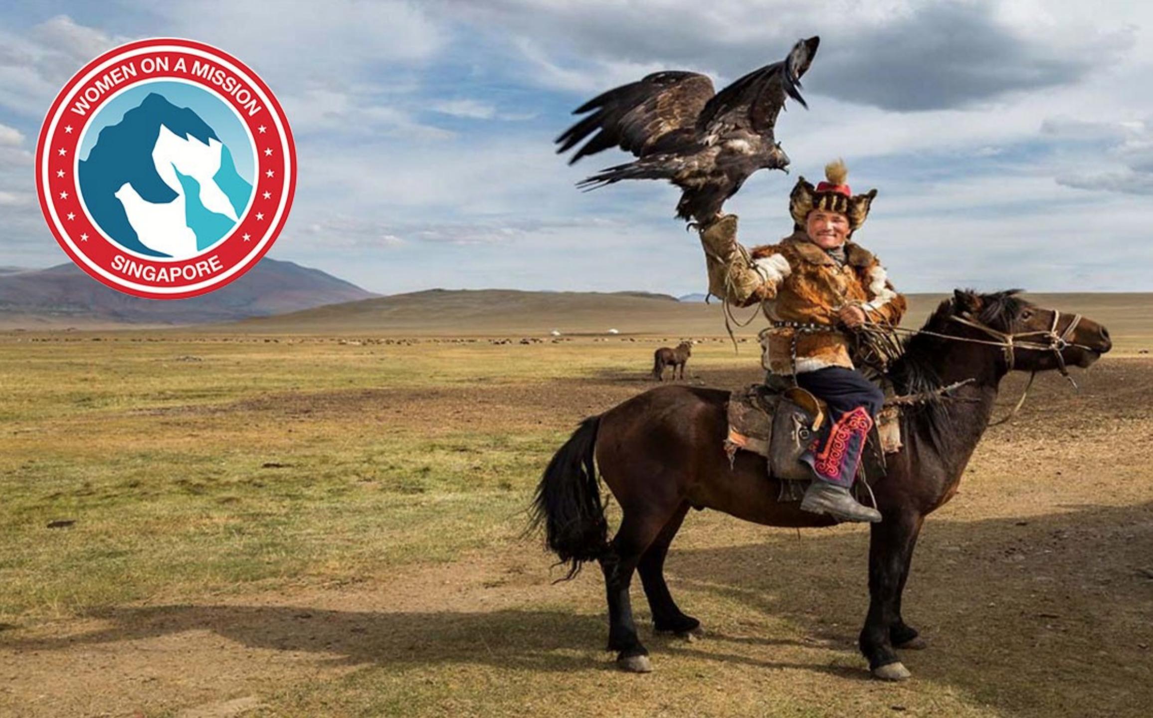 mongolian eagle hunter on horseback