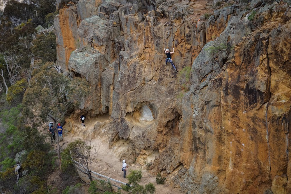 Climbing at Werribee Gorge at a previous SWW event in October