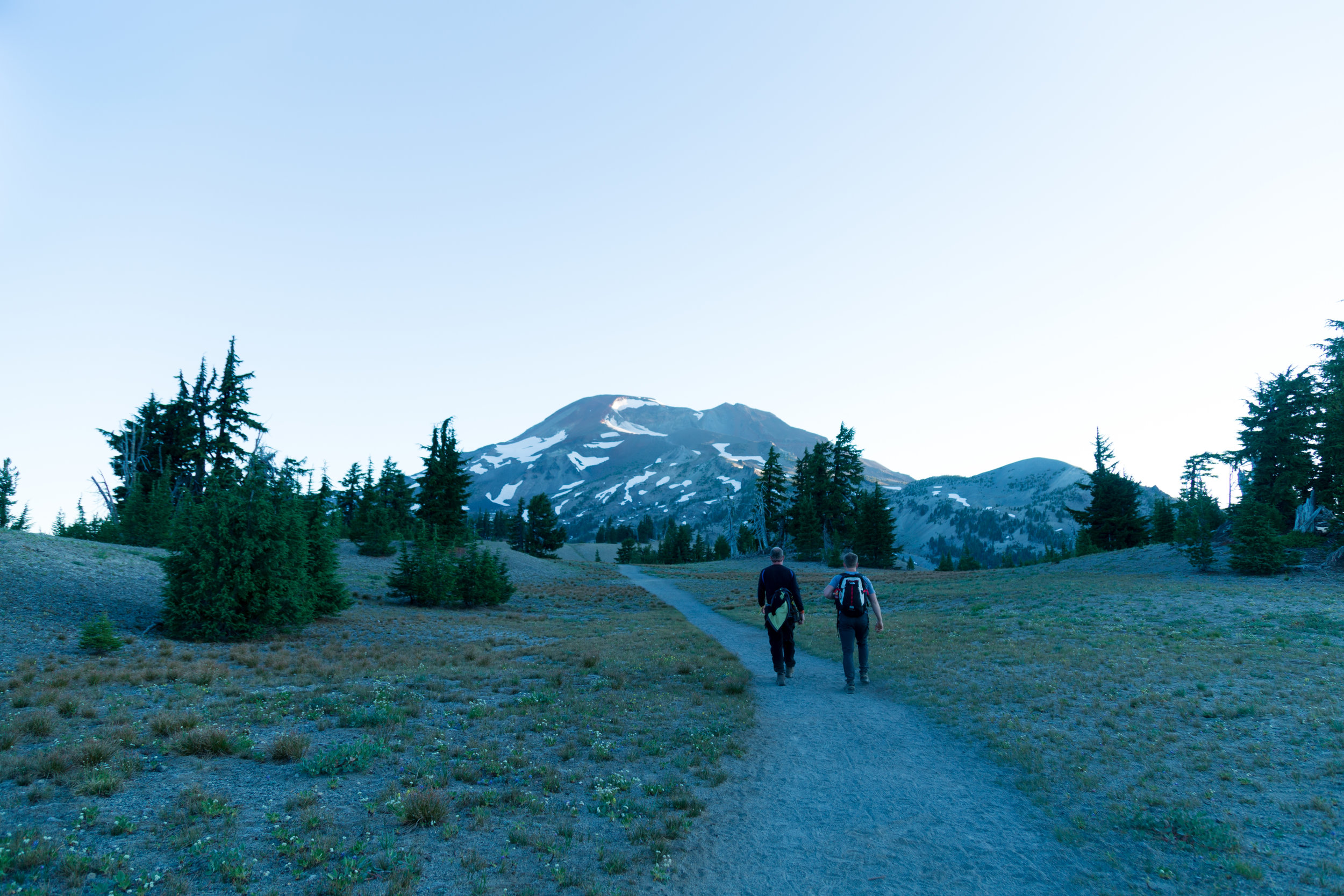 South Sister up ahead as we strolled through beautiful meadows and rolling hills