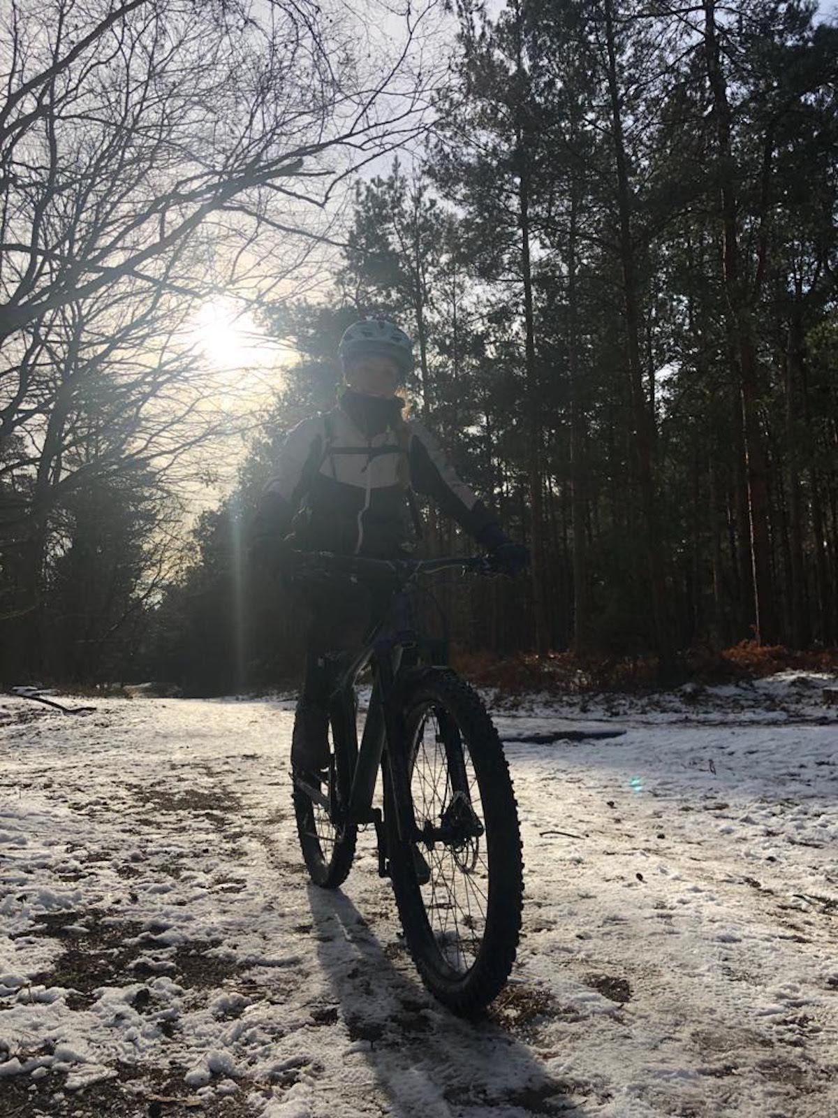Danielle Lovett - Mountain biking in the snow