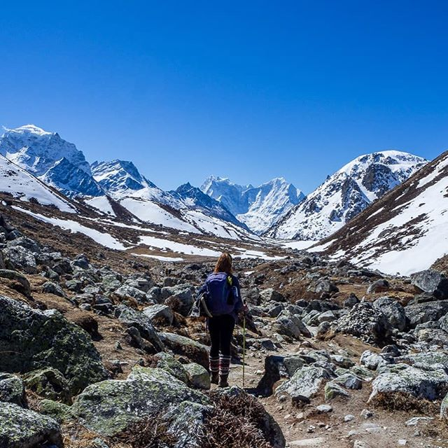 """Over the course of three months in Nepal, I did four different treks in three different areas and organised and hiked them all on my own. I found that organising a trek yourself in Nepal is surprisingly not that difficult and obviously, much more affordable too. It gives you the freedom to decide where you go, how long for, when to stop and...what time you have to get up every morning!"" ••• @elishadonkin leaving Gokyo in Nepal. Elisha shares a seriously inspiring + informative step-by-step guide on trekking independently in Nepal on the #shewentwild blog"