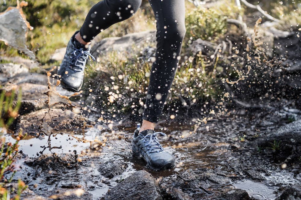 Trail runners and thru-hikers often opt for trail runners without any waterproofing. They know they'll get soaked at some point so prefer their shoes to dry quickly.
