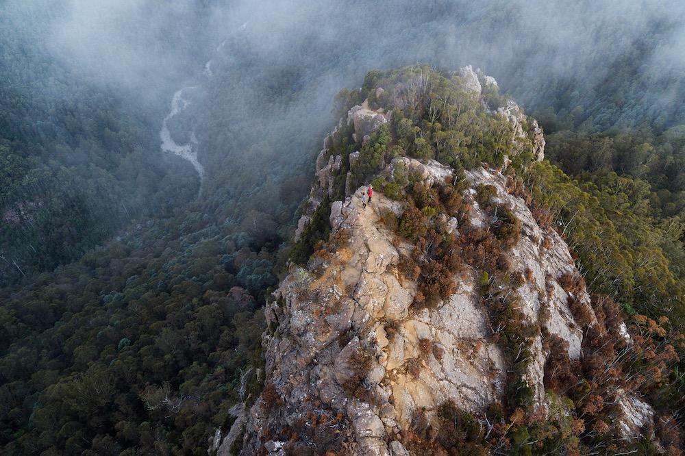 Hikers on top of Cathedral Rocks, Tasmania