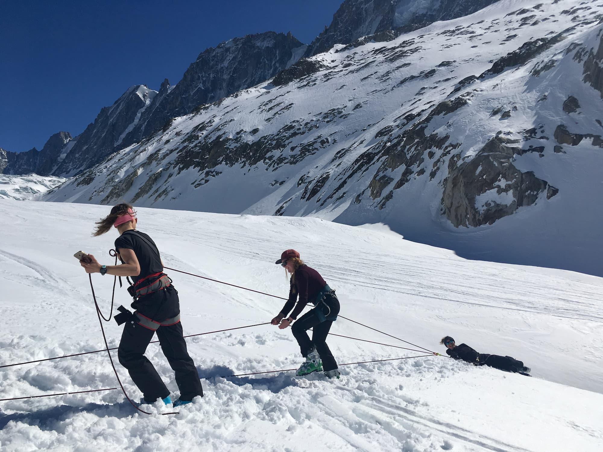 What a classroom! Practicing crevasse rescue with the Womens Mountain Club Chamonix