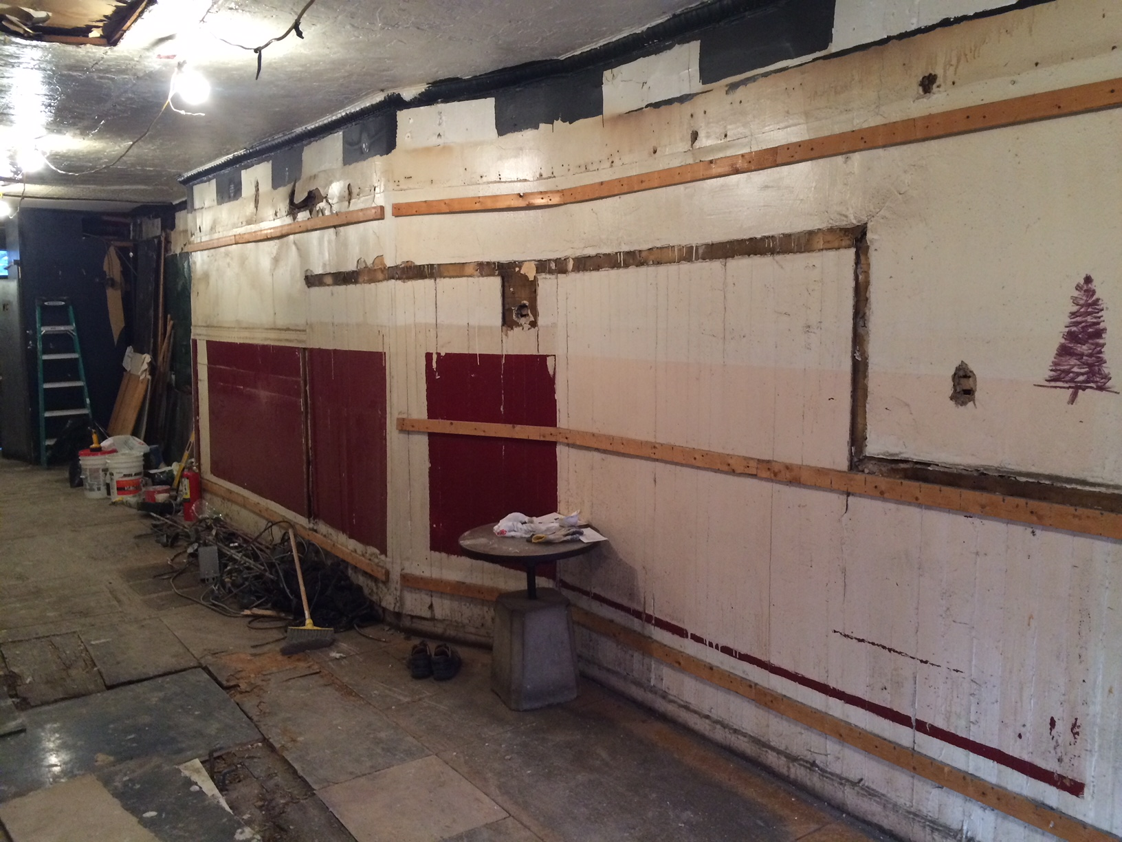 The right/north wall, after the corrugated metal was removed.