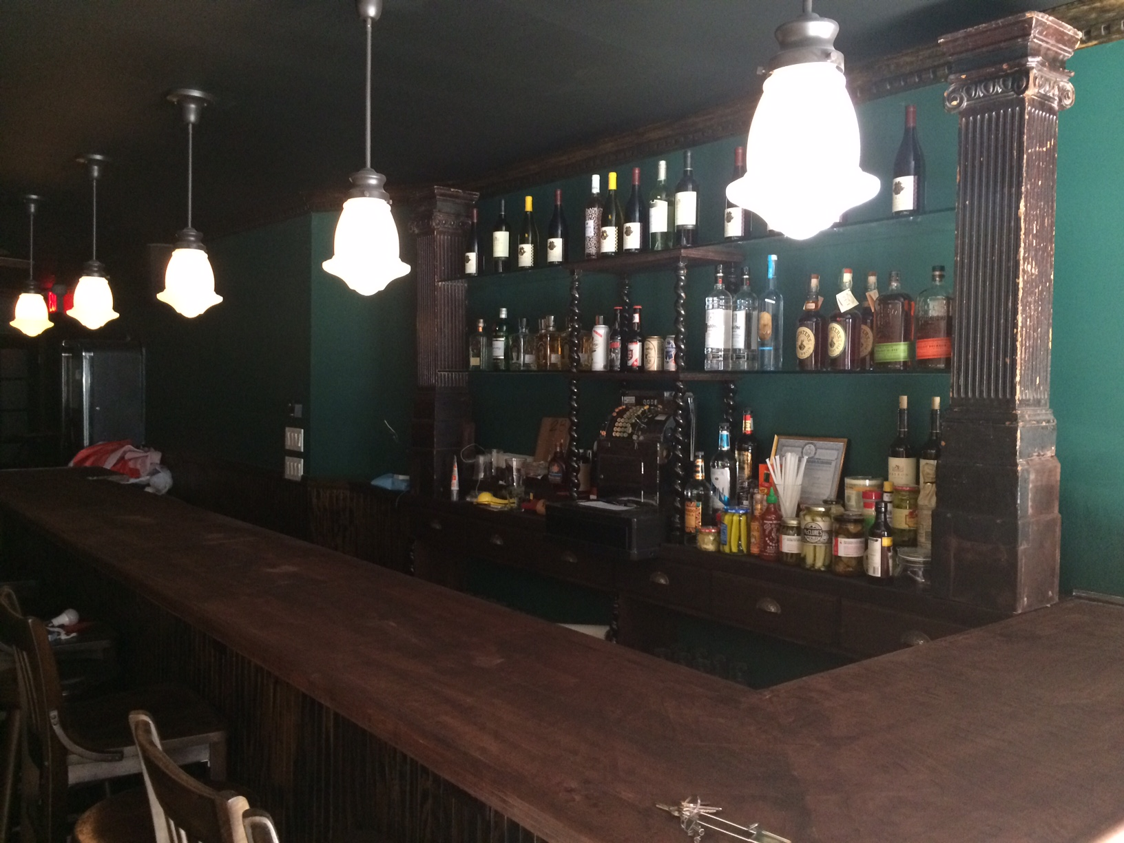 "A ""mid-way through the process"" shot of the bar: no mirrors, no beer taps and no glossy finish...yet."