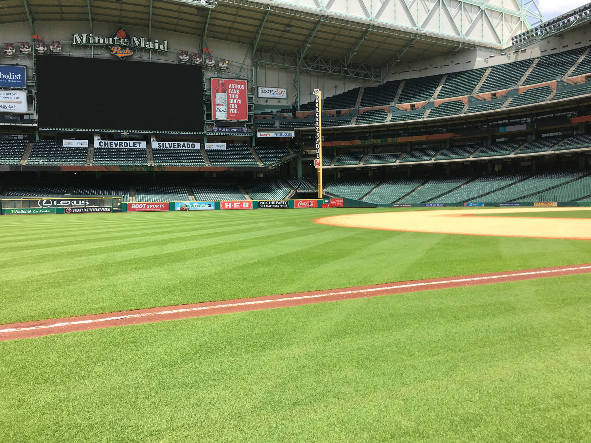 HALFTIME: On-field tour of Minute Maid Park, a first for me.