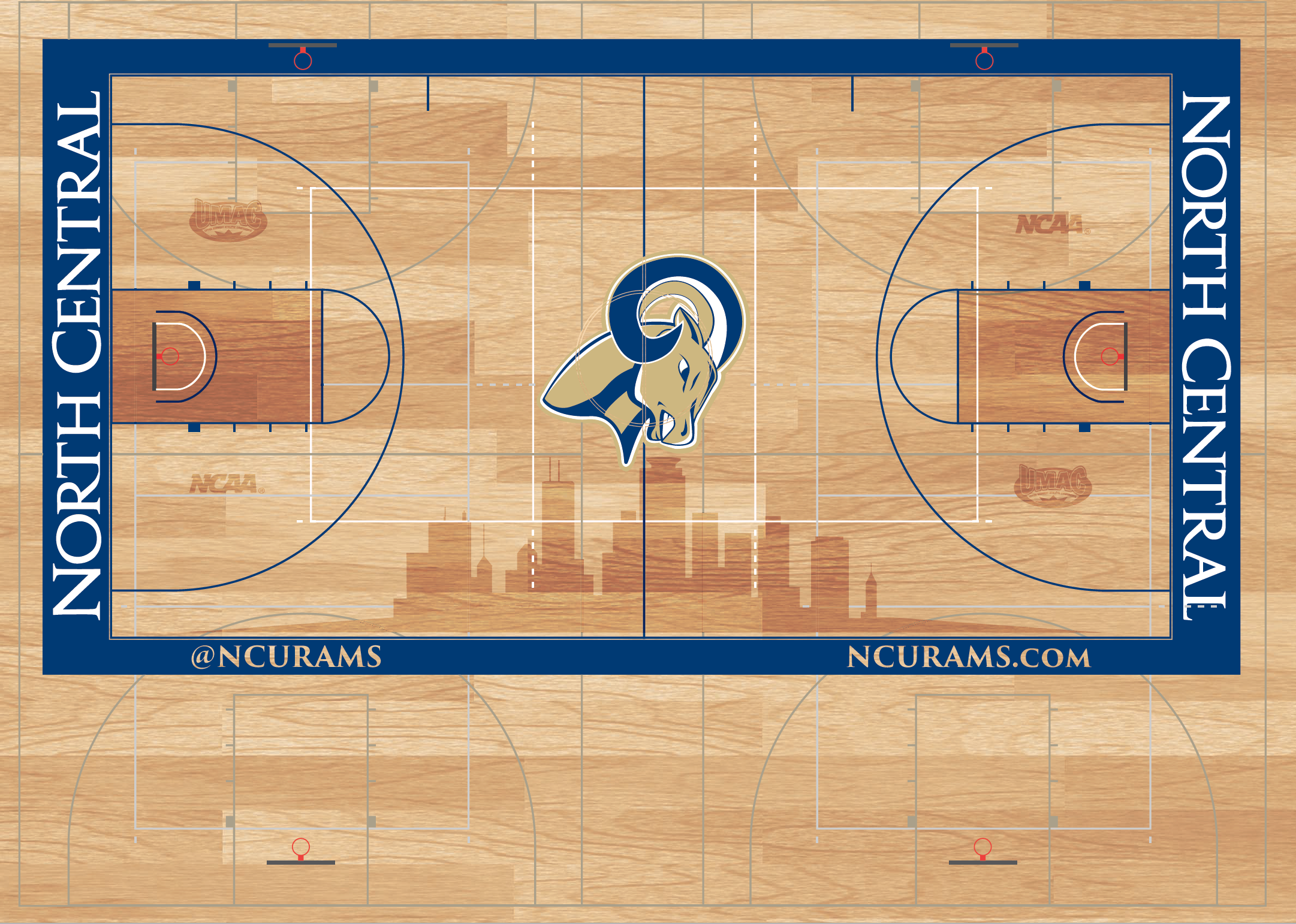 A true multipurpose gymnasium adds complexity to the design with many intersecting lines for the different sports played in Clark-Danielson.