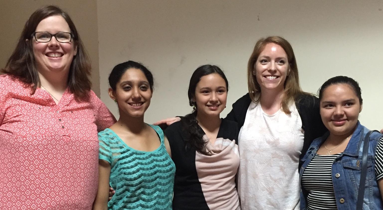 From left to right:Heather, Kimberly, Ana, Chloe, and Sara. Kimberly, Ana, and Sara were three of our valued translators!