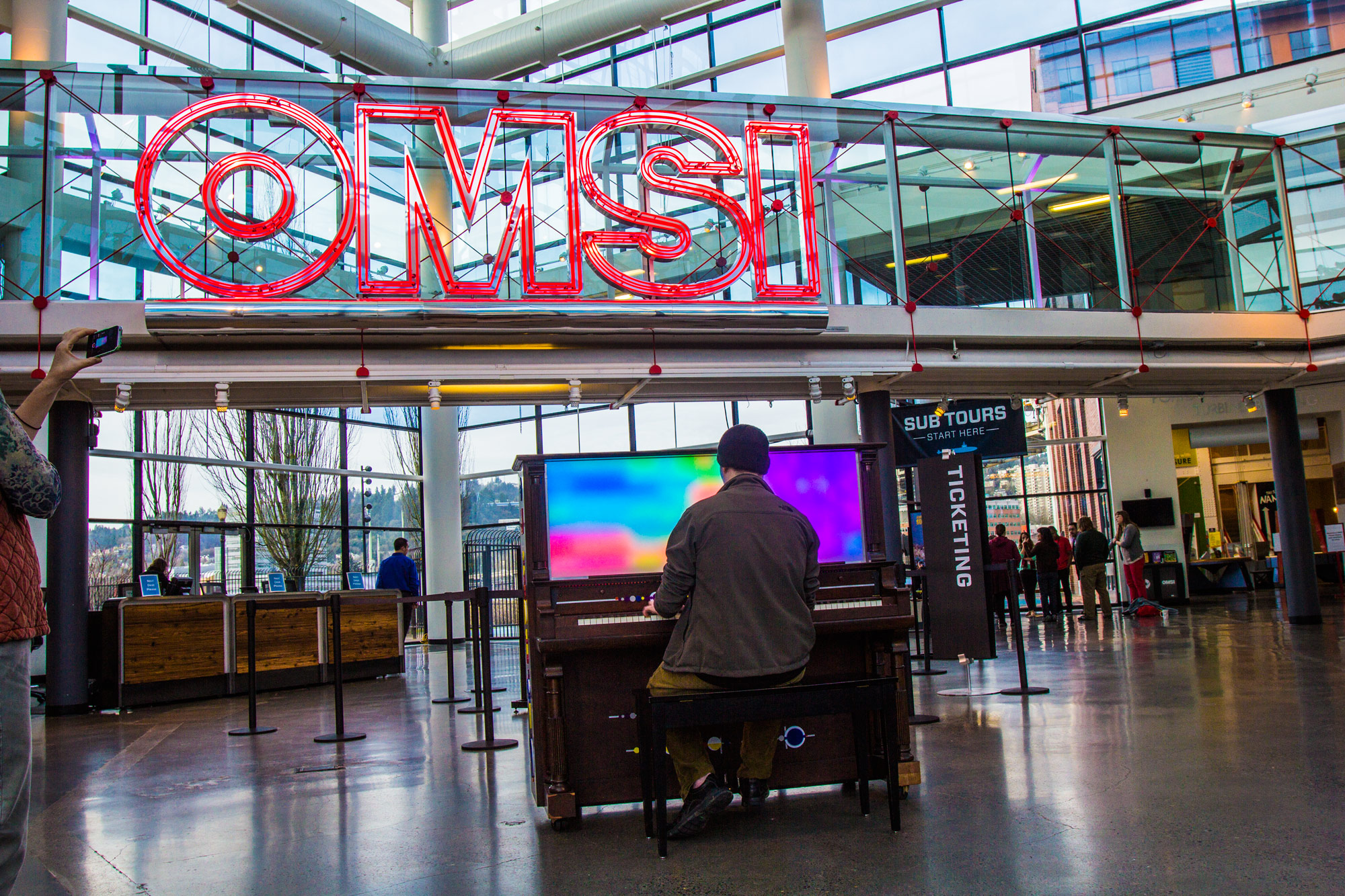 CymaSpace's piano being played at omsi.