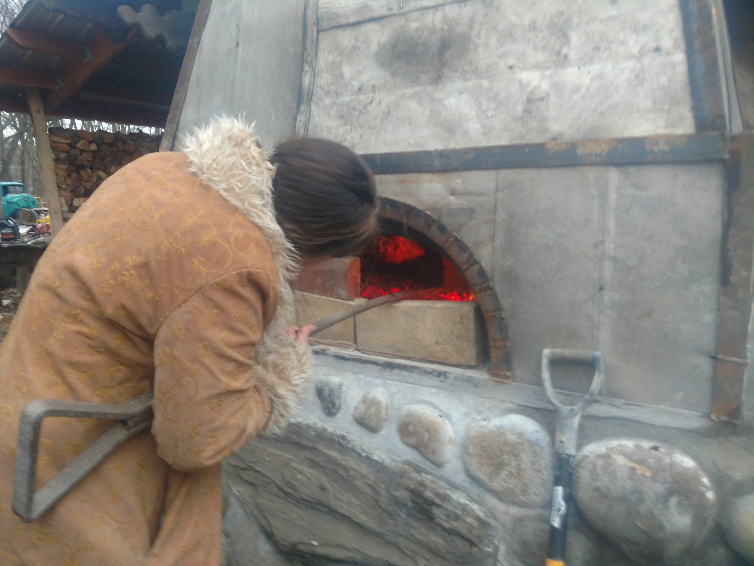 Jessie cooking a turkey.