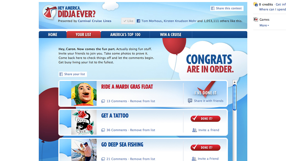 Hey America, Didja Ever? ad campaign Facebook app for Carnival Cruise Lines by Tom Morhous and Arnold Worldwide