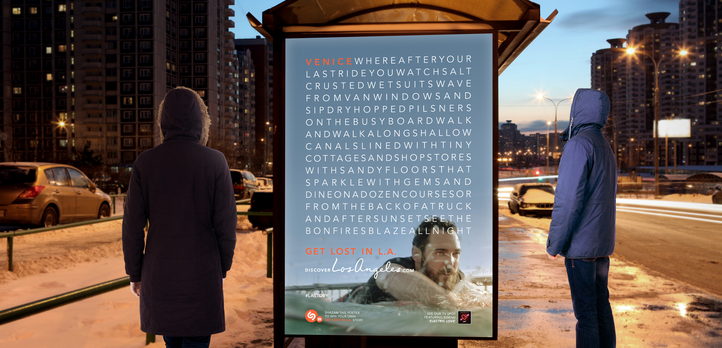 Get Lost in L.A. ad campaign O.O.H. bus shelter ad for L.A. Tourism & Convention Board by Tom Morhous and Remo+Oob, Ltd.