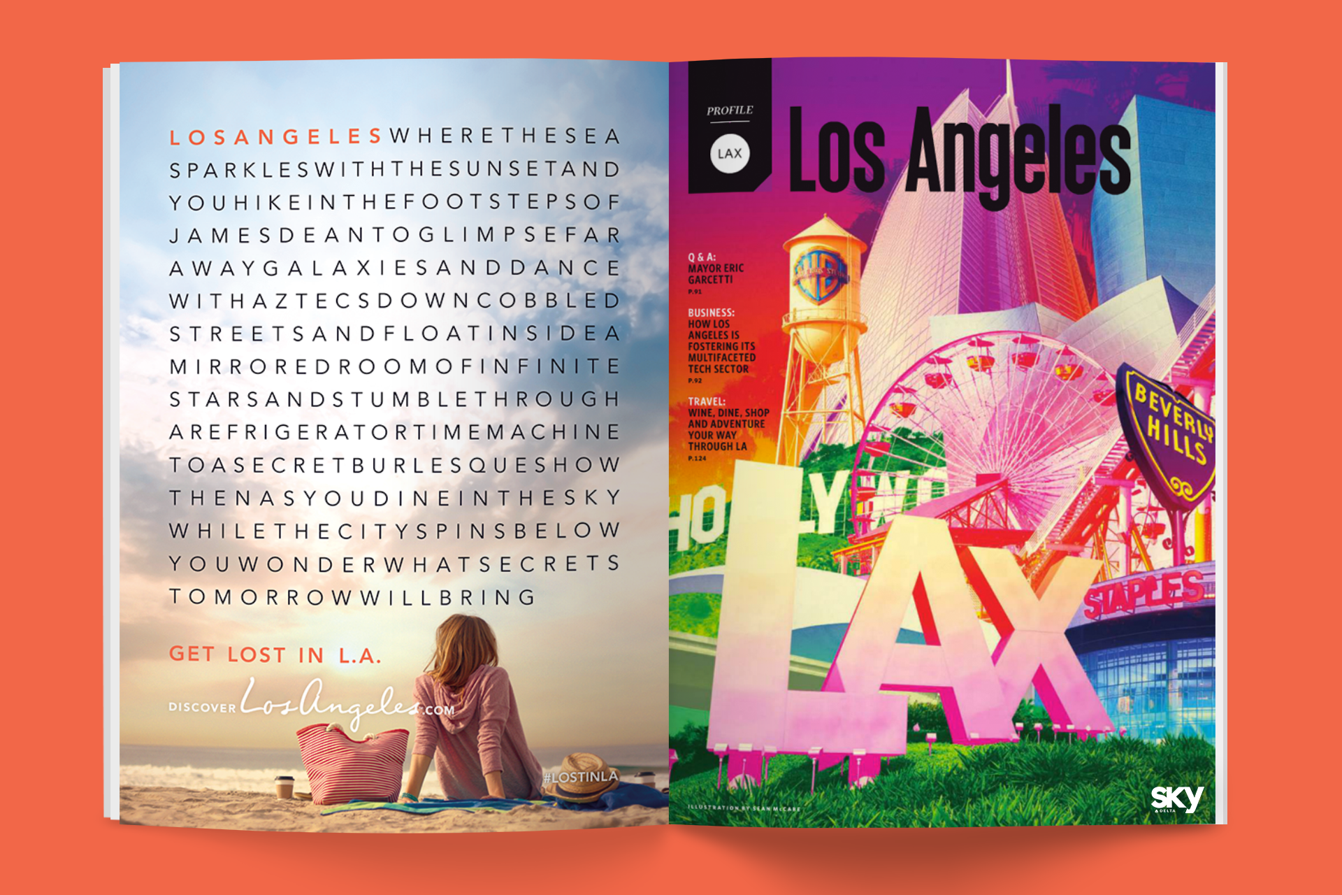 Get Lost in L.A. ad campaign print ad for L.A. Tourism & Convention Board by Tom Morhous and Remo+Oob, Ltd.