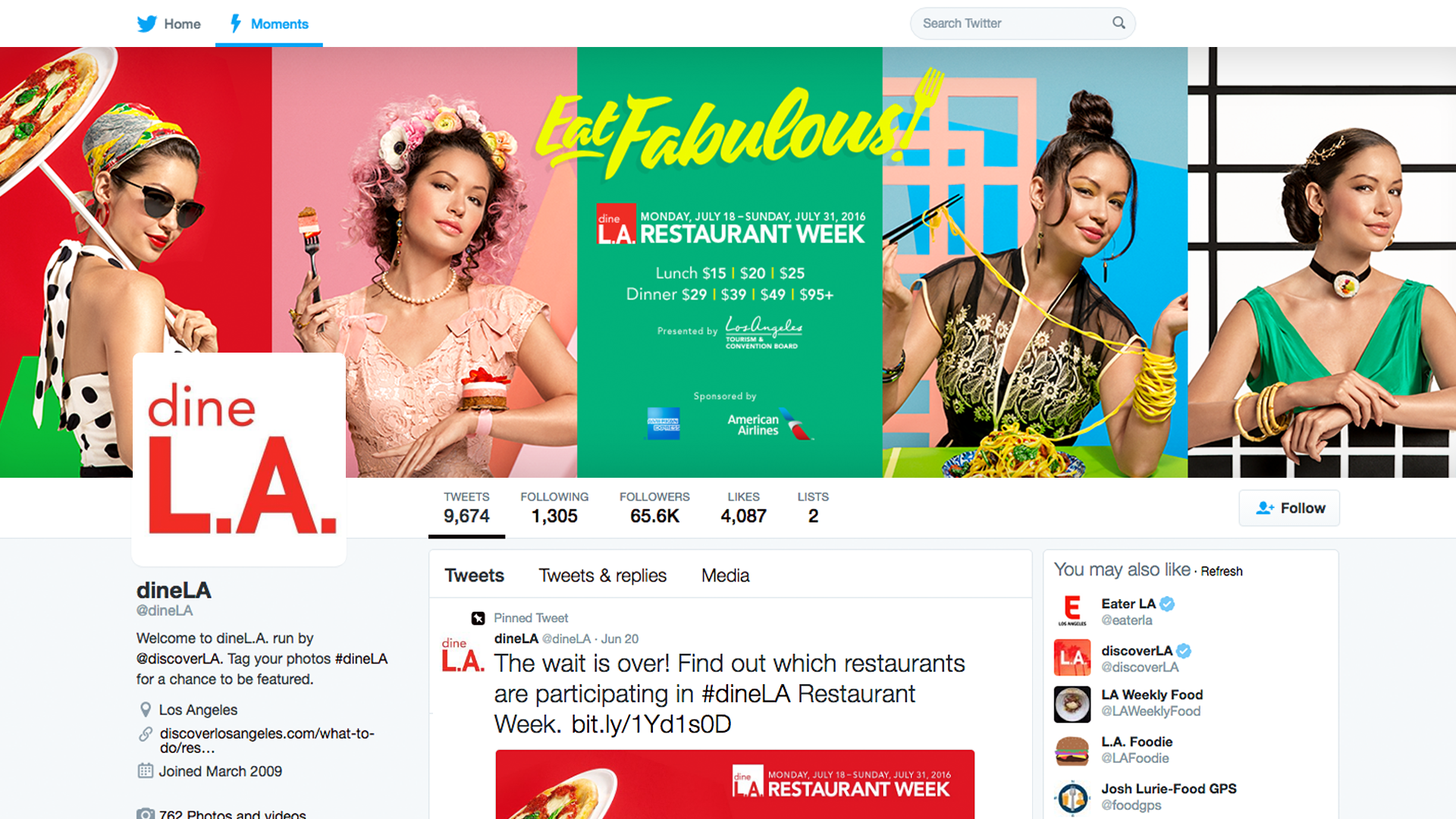 Eat Fabulous! ad campaign Twitter for dineL.A. and L.A. Tourism & Convention Board by Tom Morhous and Remo+Oob, Ltd.