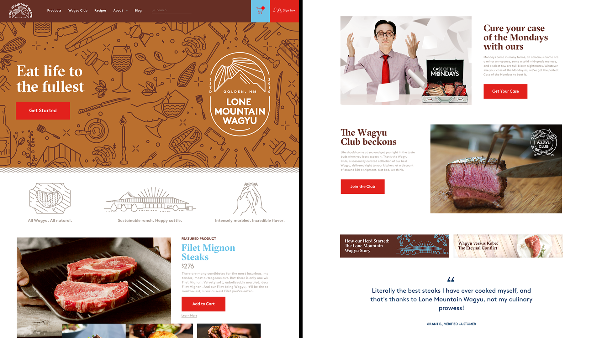 Eat Life to the Fullest branding website for Lone Mountain Wagyu by Tom Morhous and Remo+Oob, Ltd.