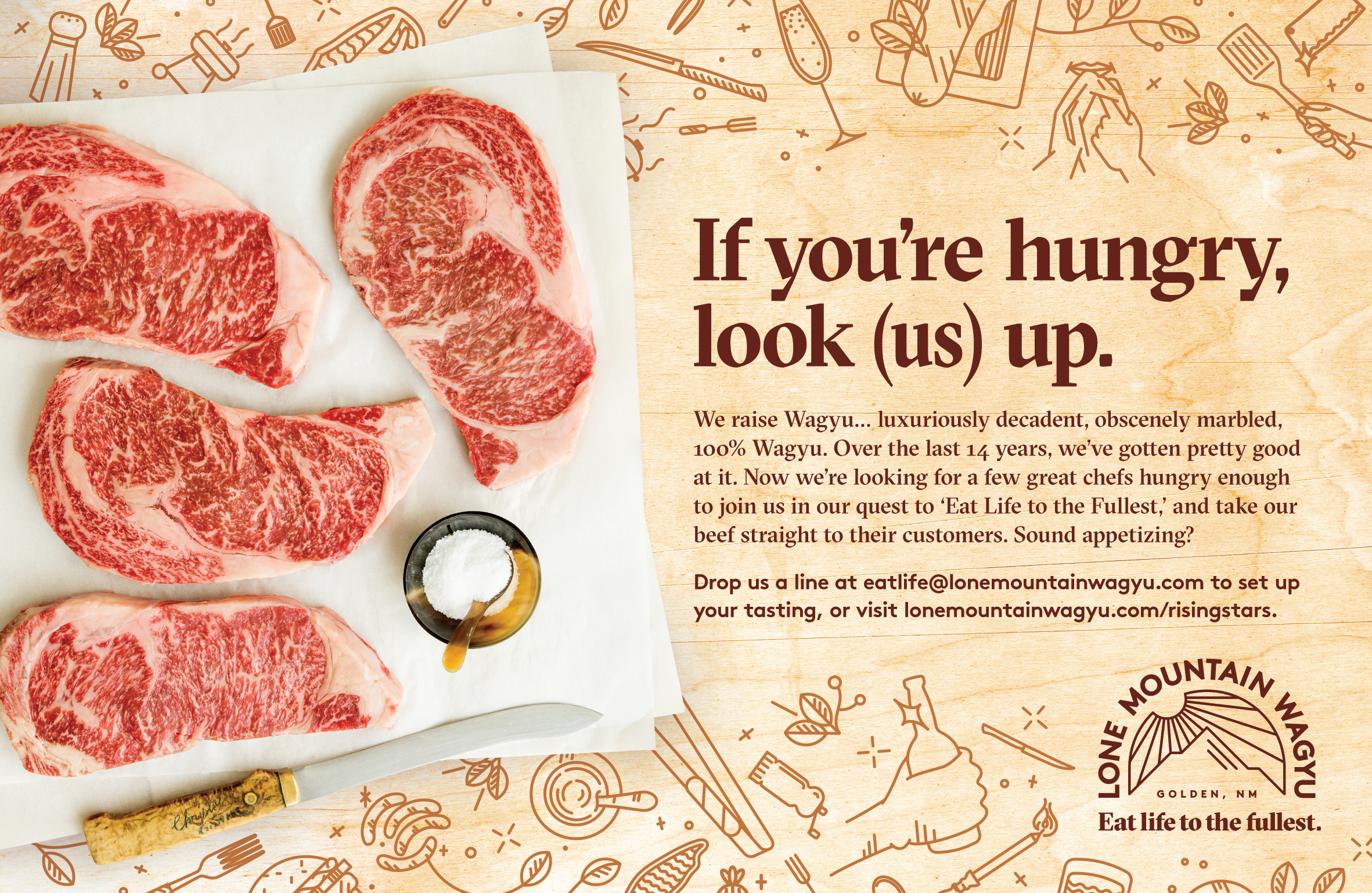 Eat Life to the Fullest branding print ad for Lone Mountain Wagyu by Tom Morhous and Remo+Oob, Ltd.