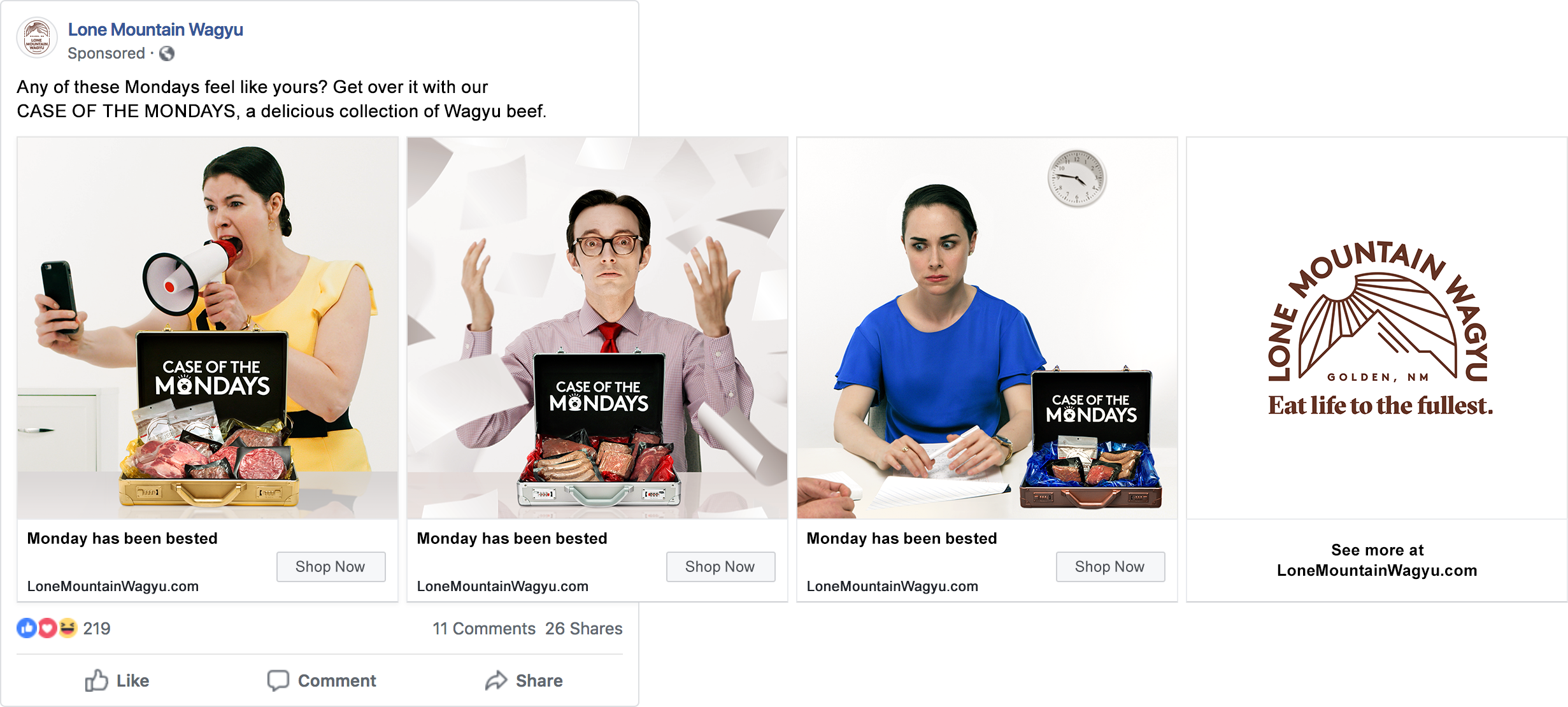 Case of the Mondays ad campaign social media ad for Lone Mountain Wagyu by Tom Morhous and Remo+Oob, Ltd.