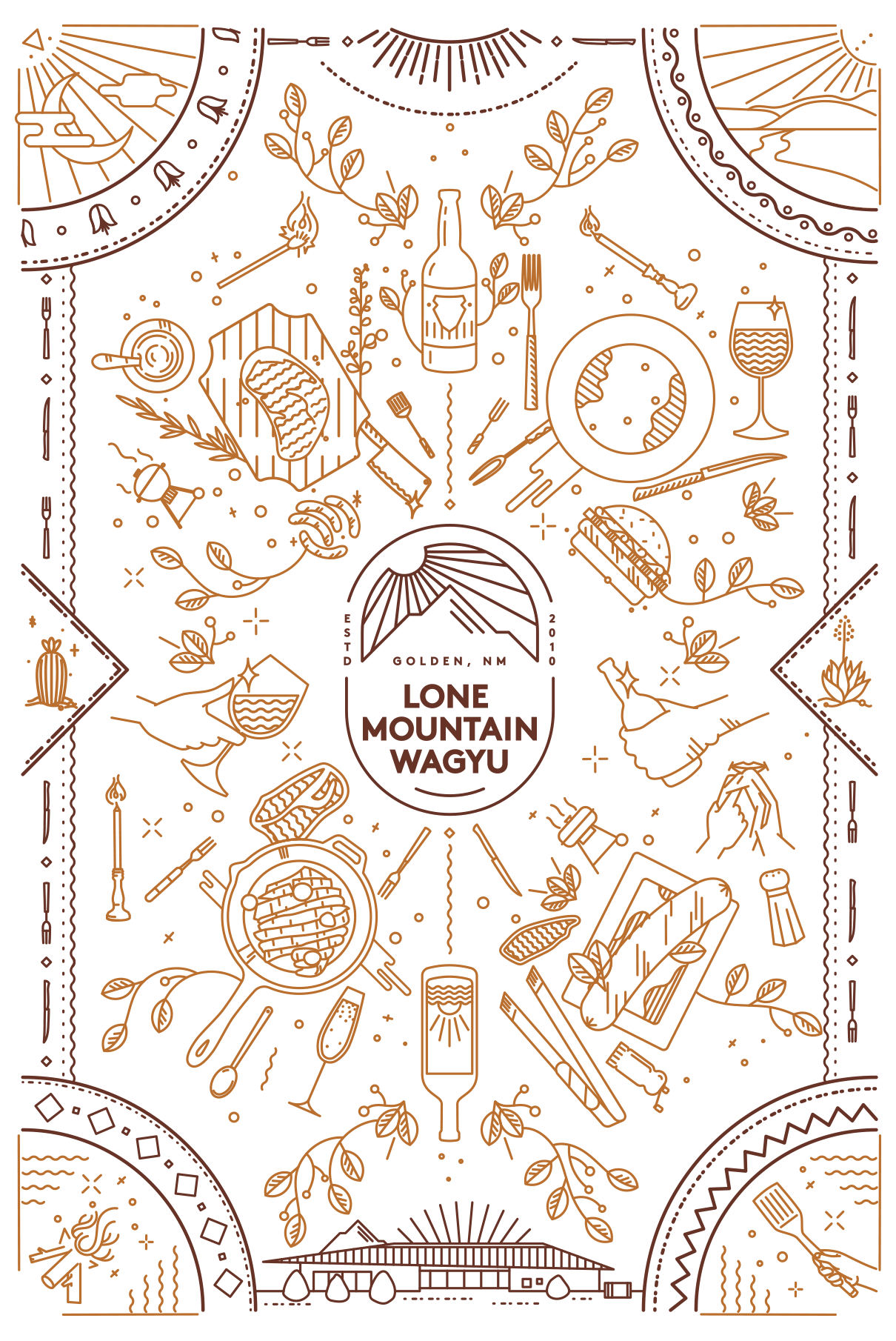 Eat Life to the Fullest branding iconography for Lone Mountain Wagyu by Tom Morhous and Remo+Oob, Ltd.