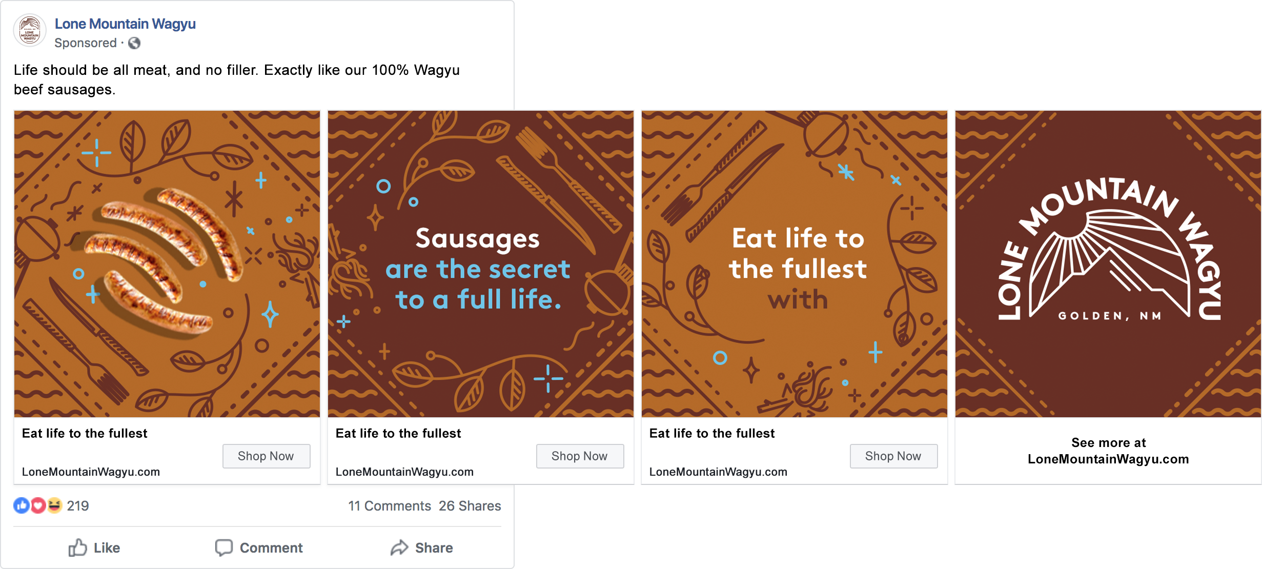 Eat Life to the Fullest branding social ad for Lone Mountain Wagyu by Tom Morhous and Remo+Oob, Ltd.