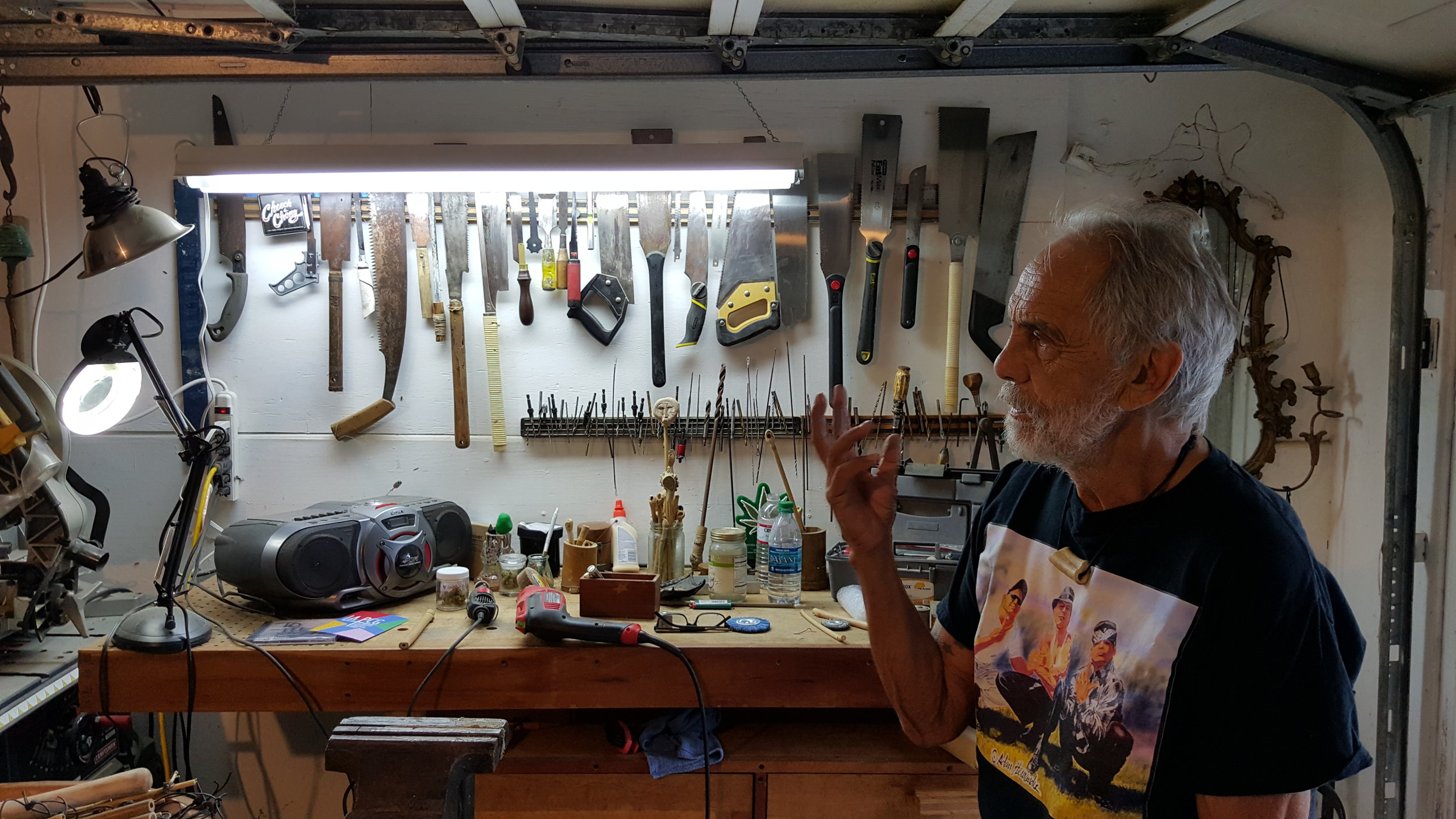 Shot in Tommy's workshop