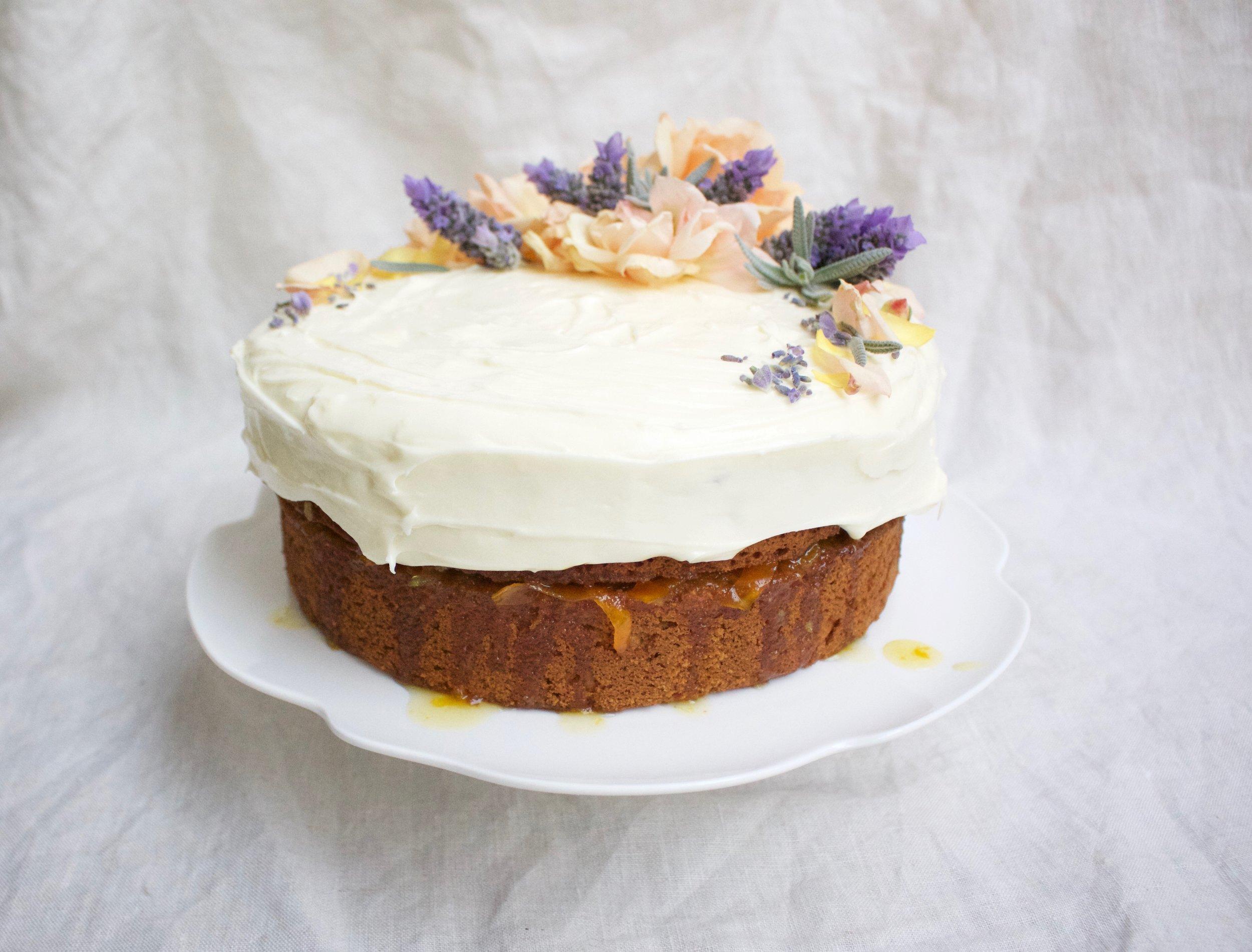 < hazelnut & spelt sponge w/ kumquat & cream cheese >