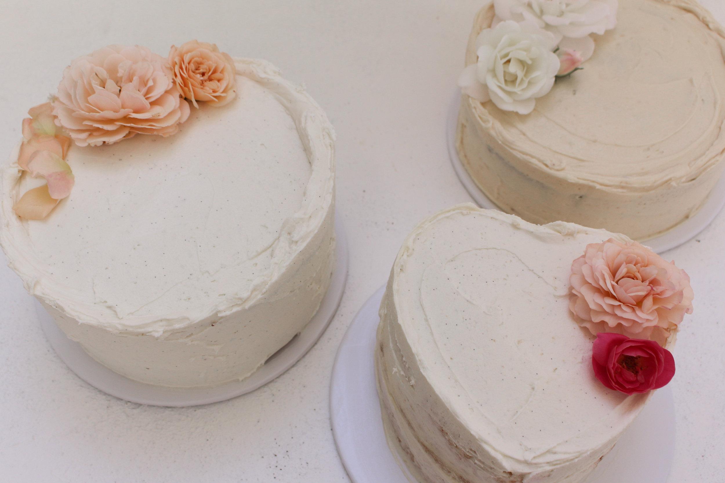 < trio of wedding cake testers >