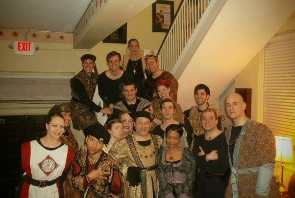 Michael (hidden behind the woman on the far left) pictured with the cast of The Hilberry Theatre's Richard III.