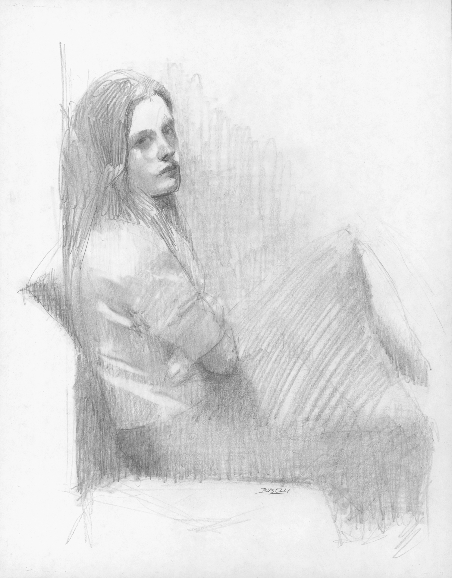 "SITTING POSE   graphite on paper | 12"" x 10"""