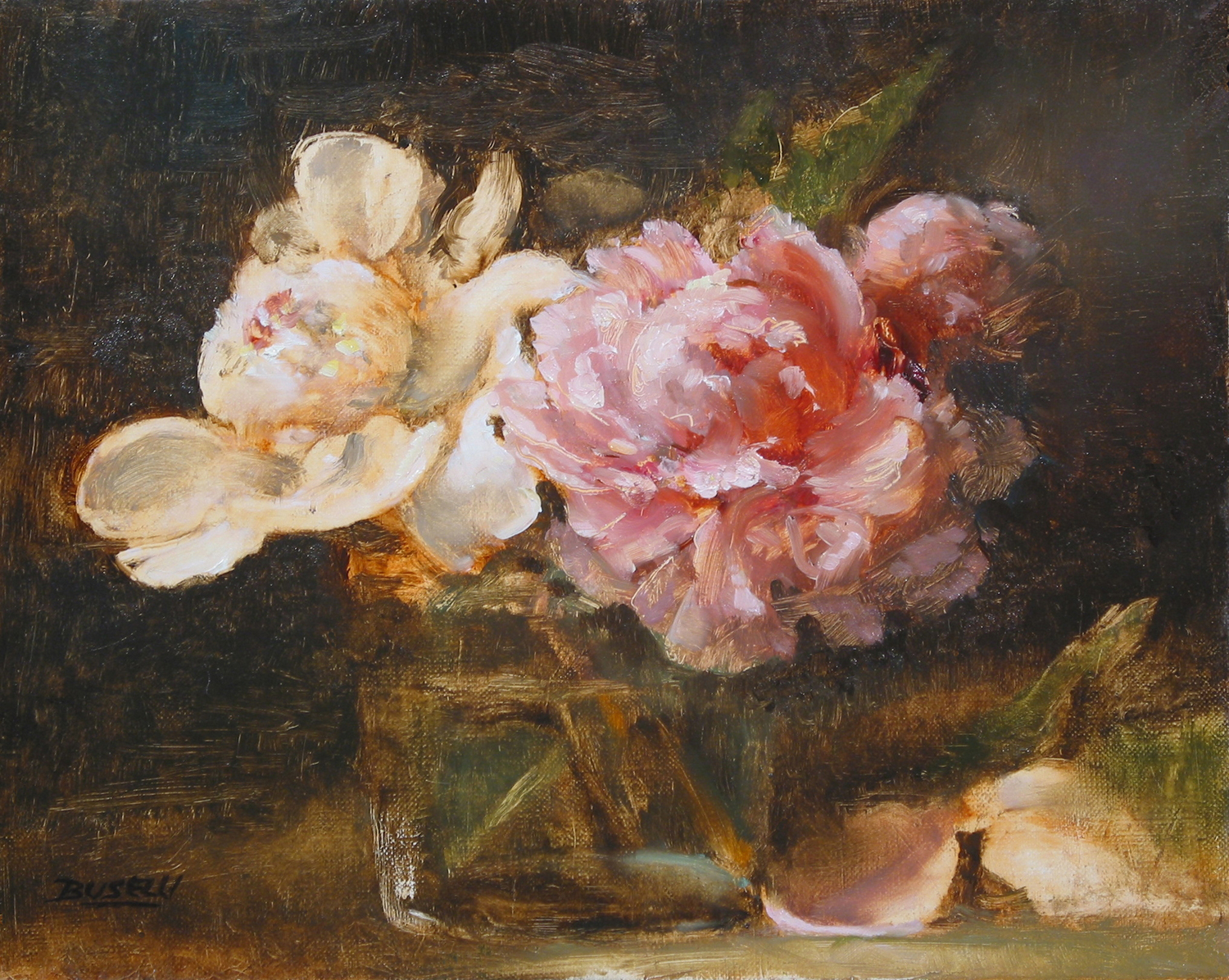 "PEONIES    NATIONAL ACADEMY OF DESIGN 175TH JURIED EXHIBITION    OIL PAINTERS OF AMERICA - WINSOR & NEWTON AWARD OF EXCELLENCE    oil on linen         8"" x 10"""