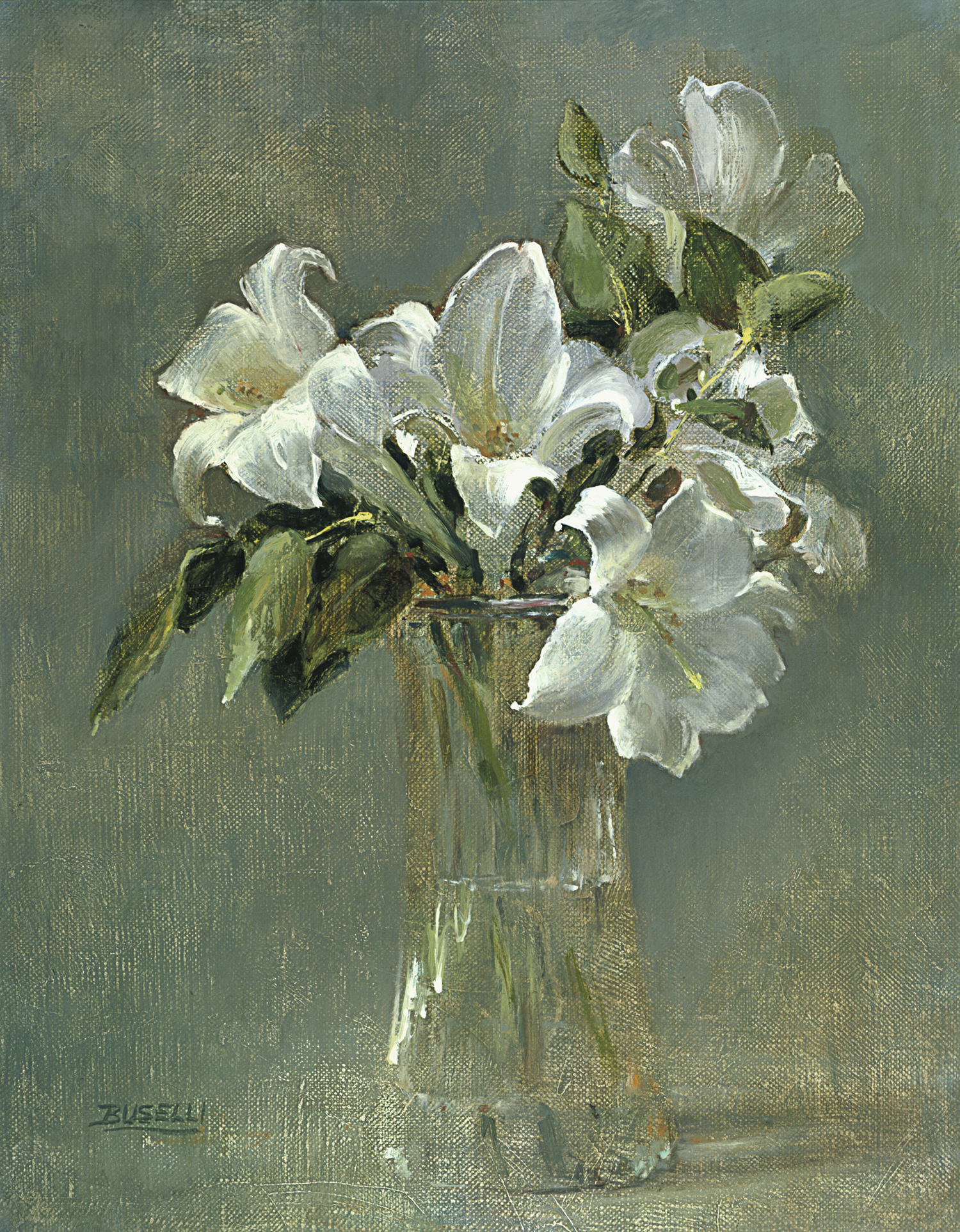 "LILIES   OIL PAINTERS OF AMERICA | GALLERY AMERICANA | CARMEL, CA  oil on linen | 18"" x 15"""
