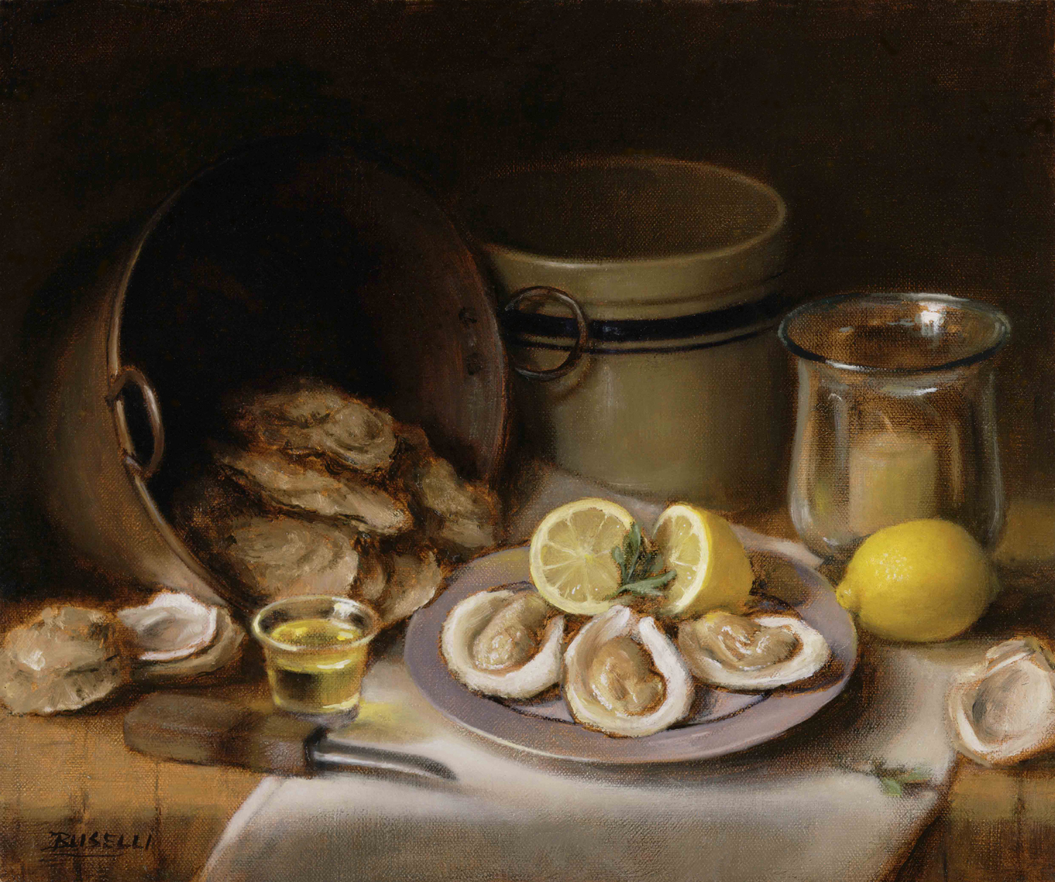 "THE OYSTER ROAST    SEMI-FINALIST ART RENEWAL CENTER SALON    oil on linen        15"" x 18"""
