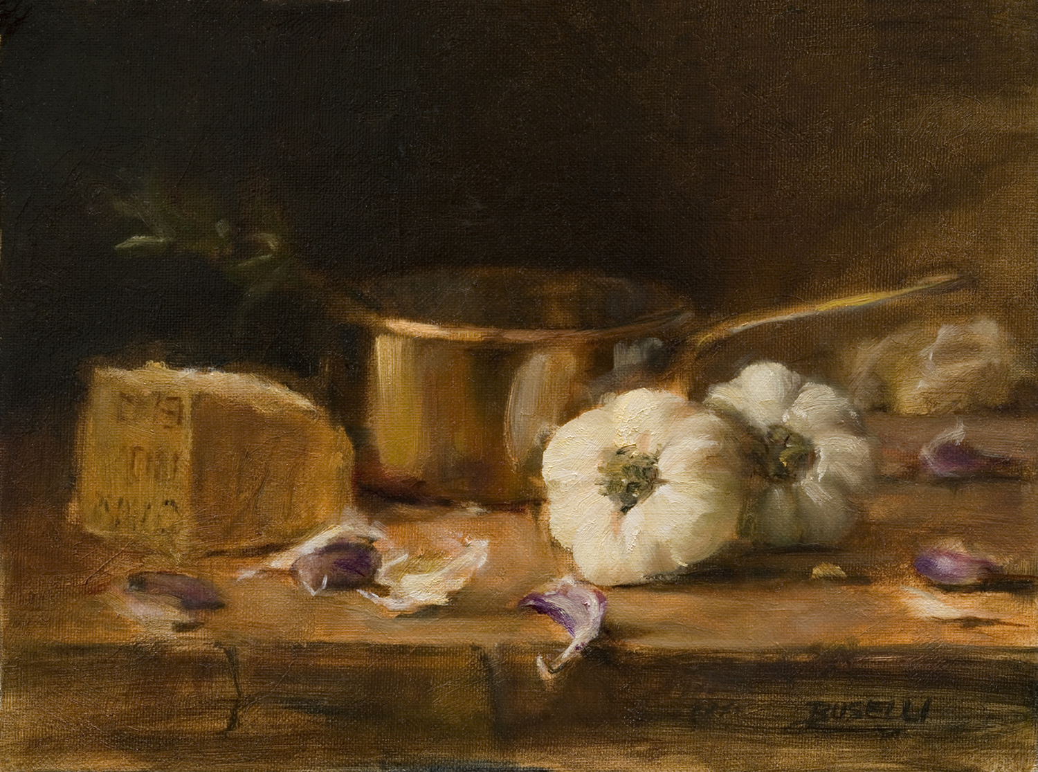 "GARLIC & PARMESAN   oil on linen | 9"" x 12"