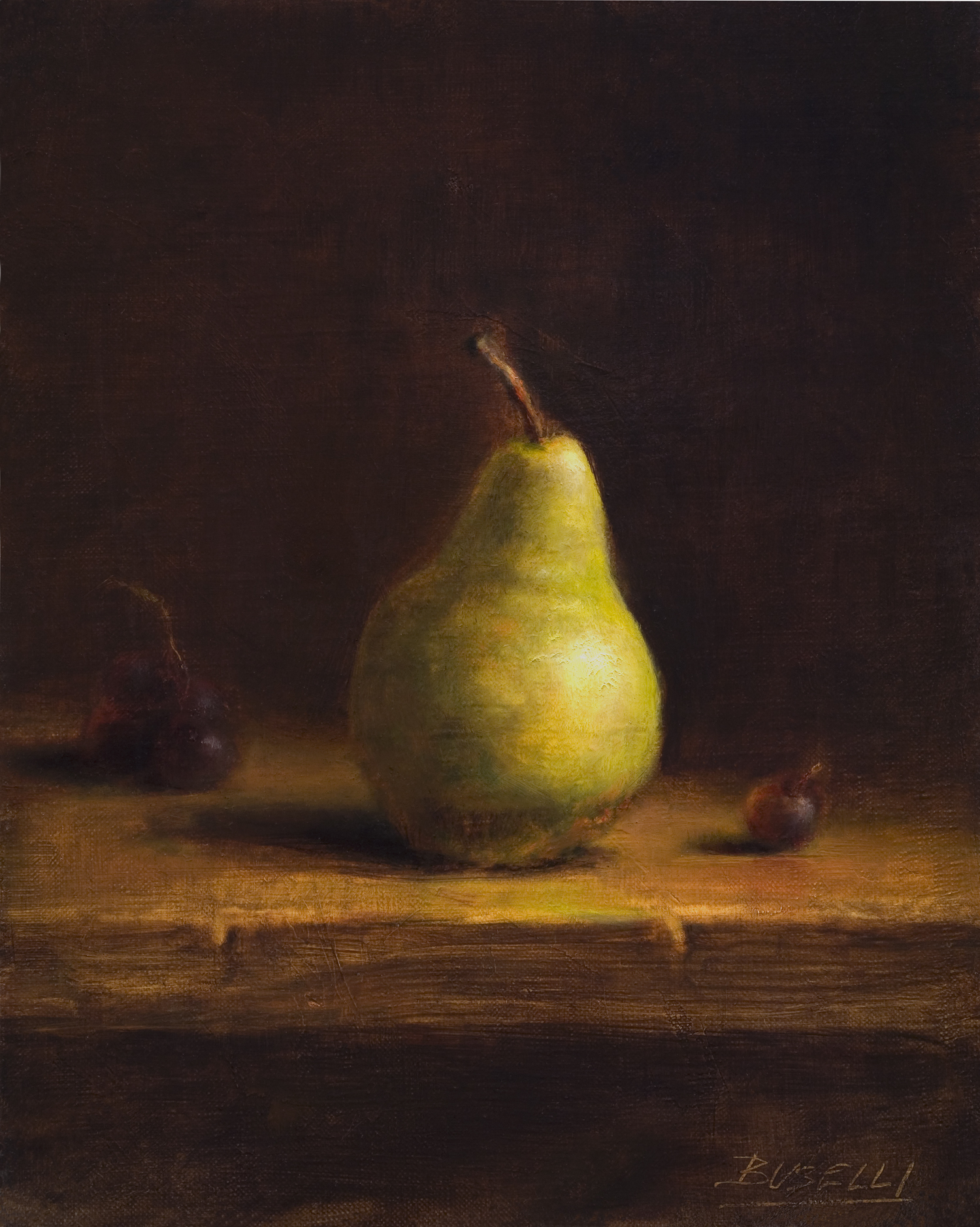 "THE GREEN PEAR   oil on linen | 10"" x 8"""
