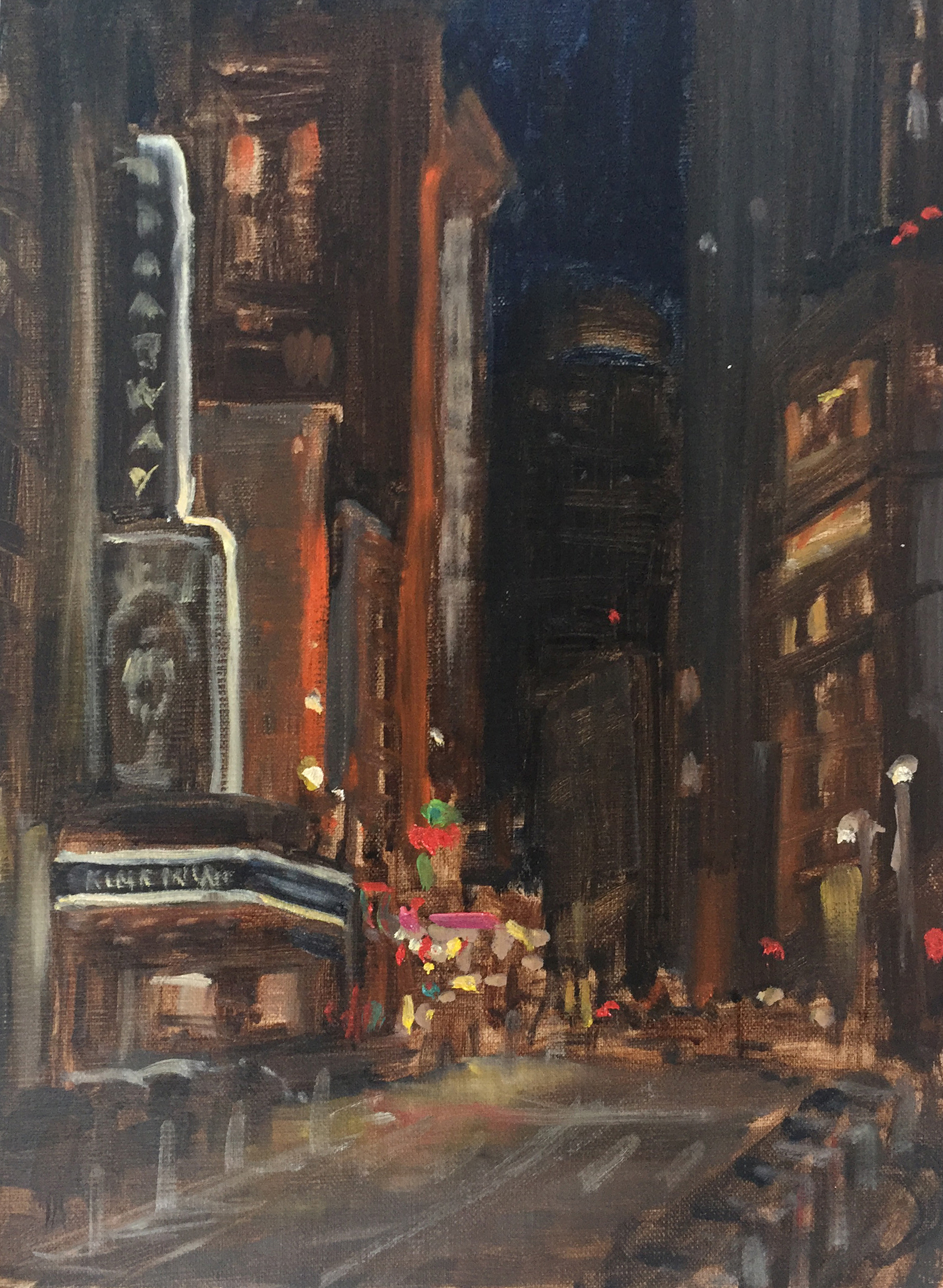 "LOOKING UP BROADWAY AT MIDNIGHT  oil on linen | 9"" x 12"""