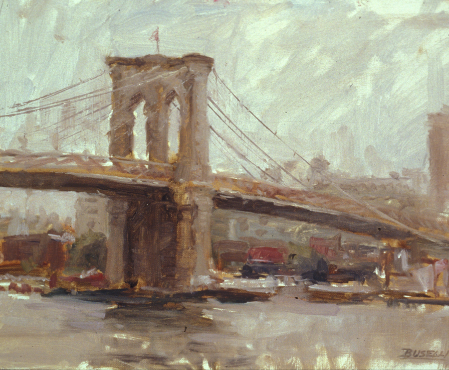 "THE BROOKLYN BRIDGE  oil on linen | 9"" x 12"""