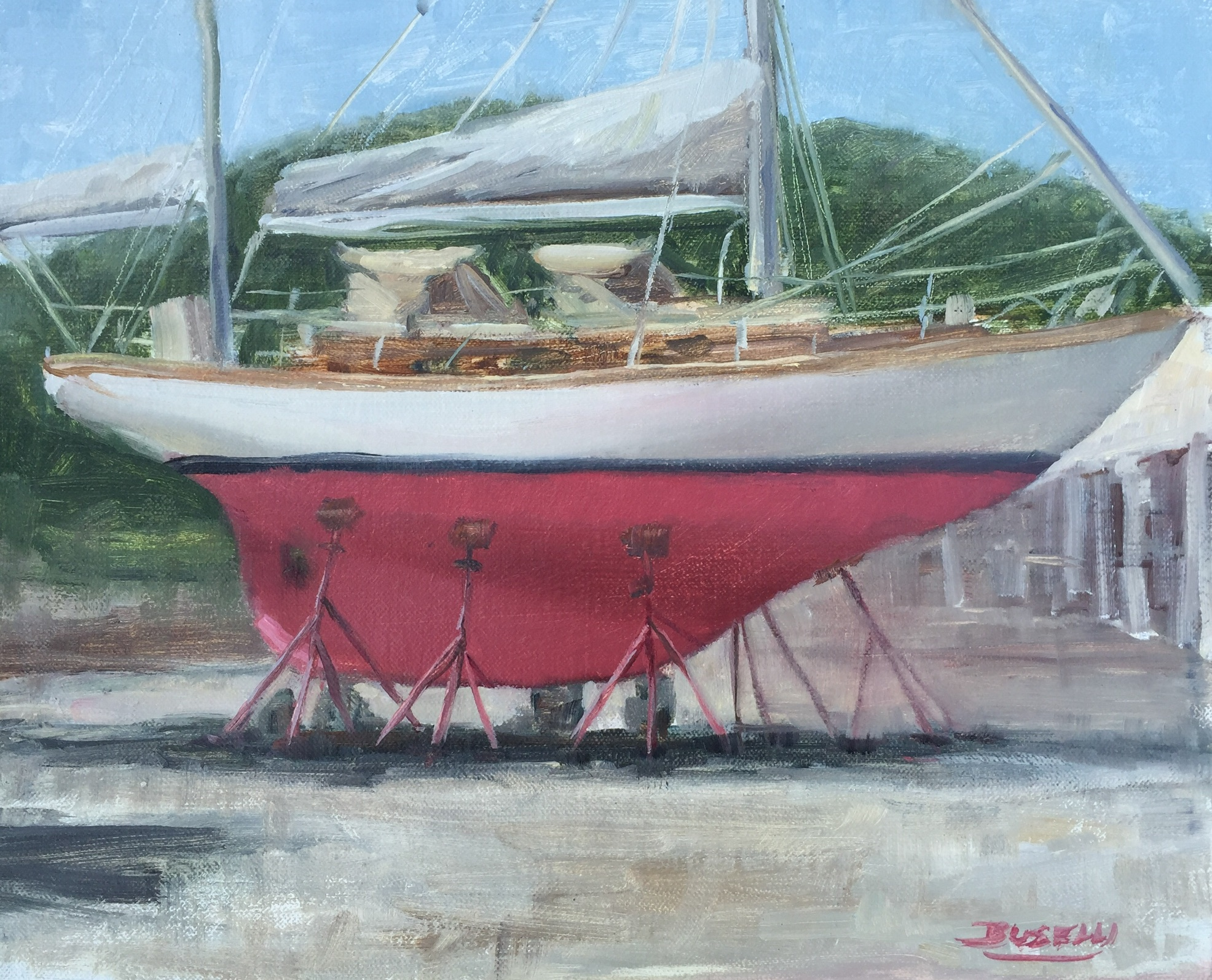 "CHEOY LEE YAWL RIG - dry docked  oil on linen | 10"" x 12""   BACK TO TOP"