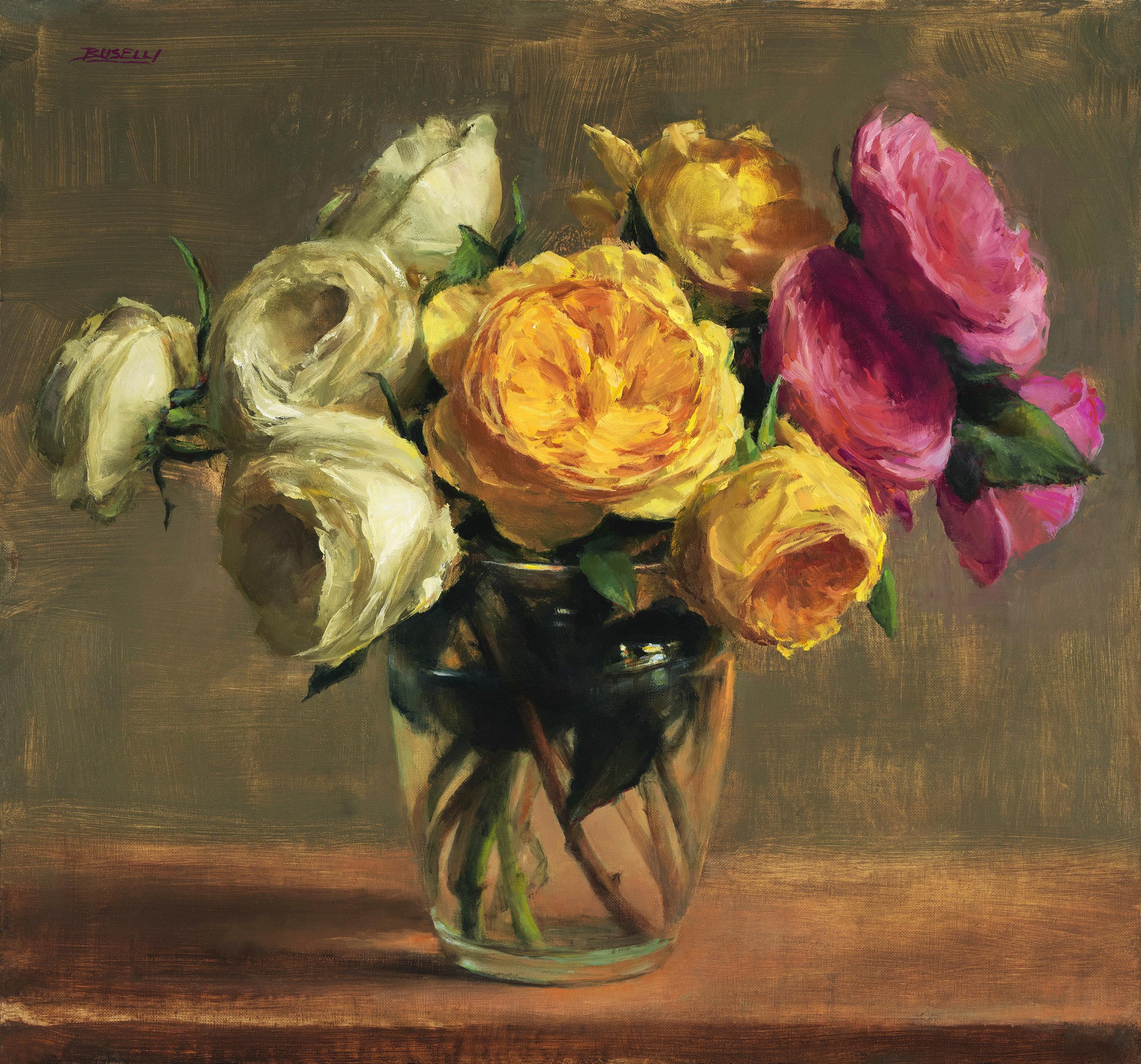 'DAVID AUSTEN ROSES' - oil on linen - 15' x 16'