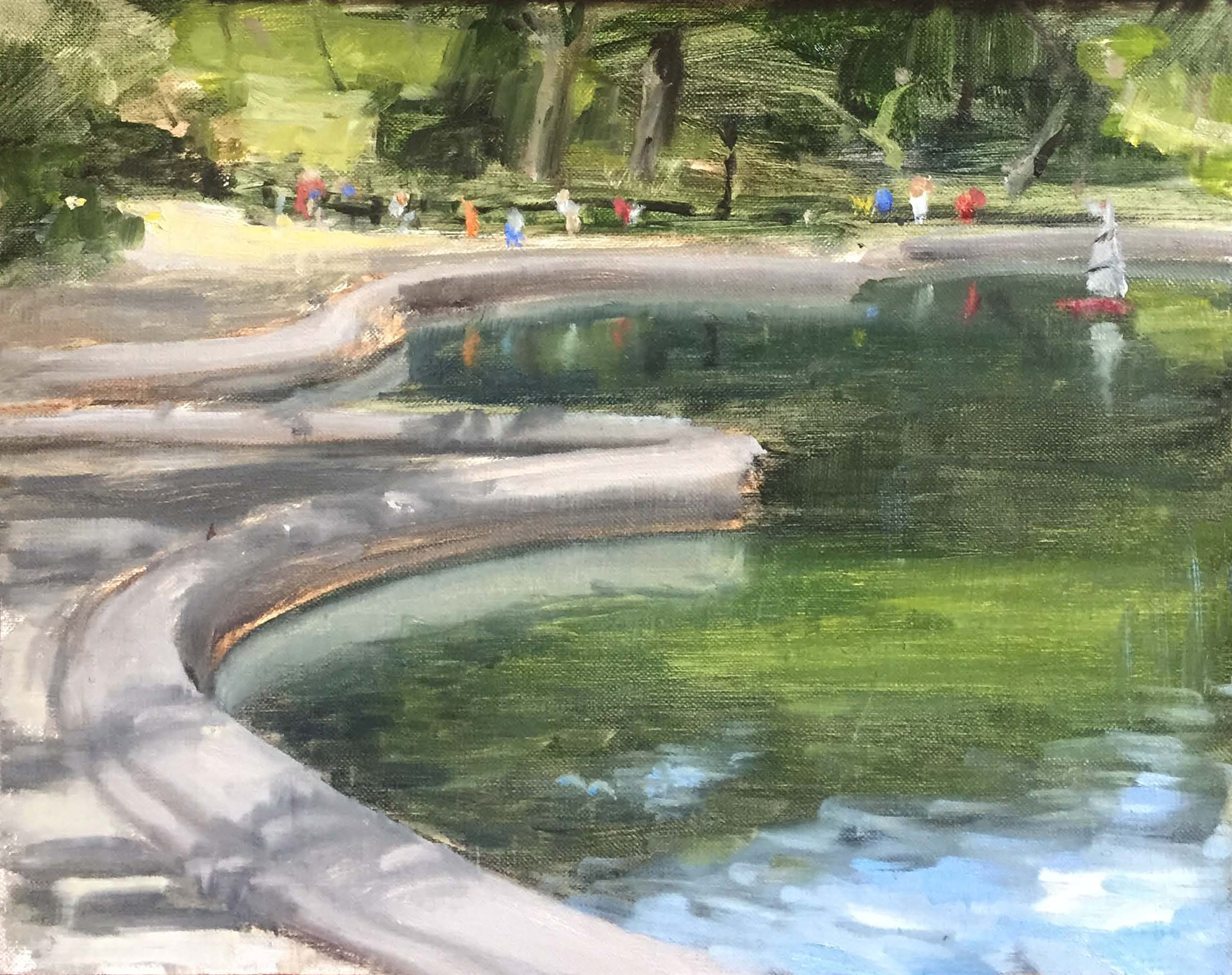"""""""VIEW AT THE BOATPOND,, CENTRAL PARK, NYC""""  oil on linen 