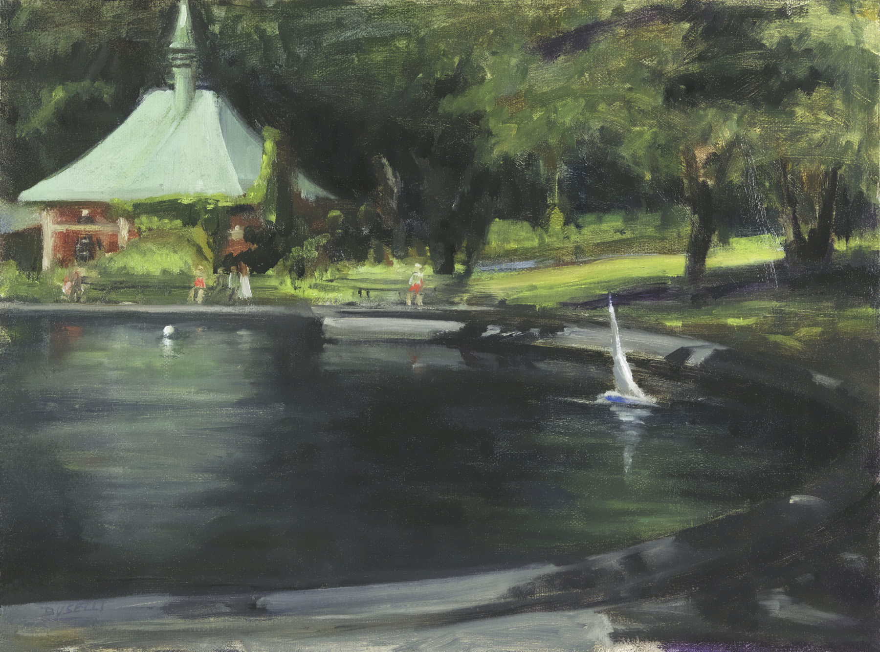"""""""INTO THE SHADOWS  at the BOAT POND, CENTRAL PARK, NYC""""  oil on linen   12"""" x 16"""""""