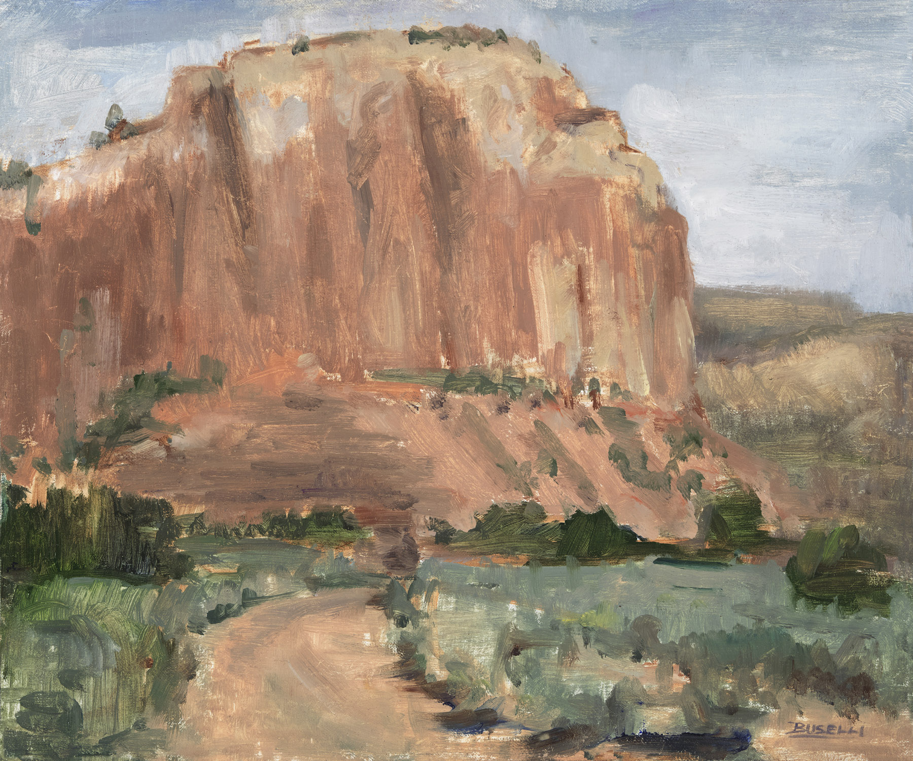 """""""ENCOUNTERS OF THE RED ROCK KIND"""",  GHOST RANCH, NM  oil on linen   10"""" x 12"""""""