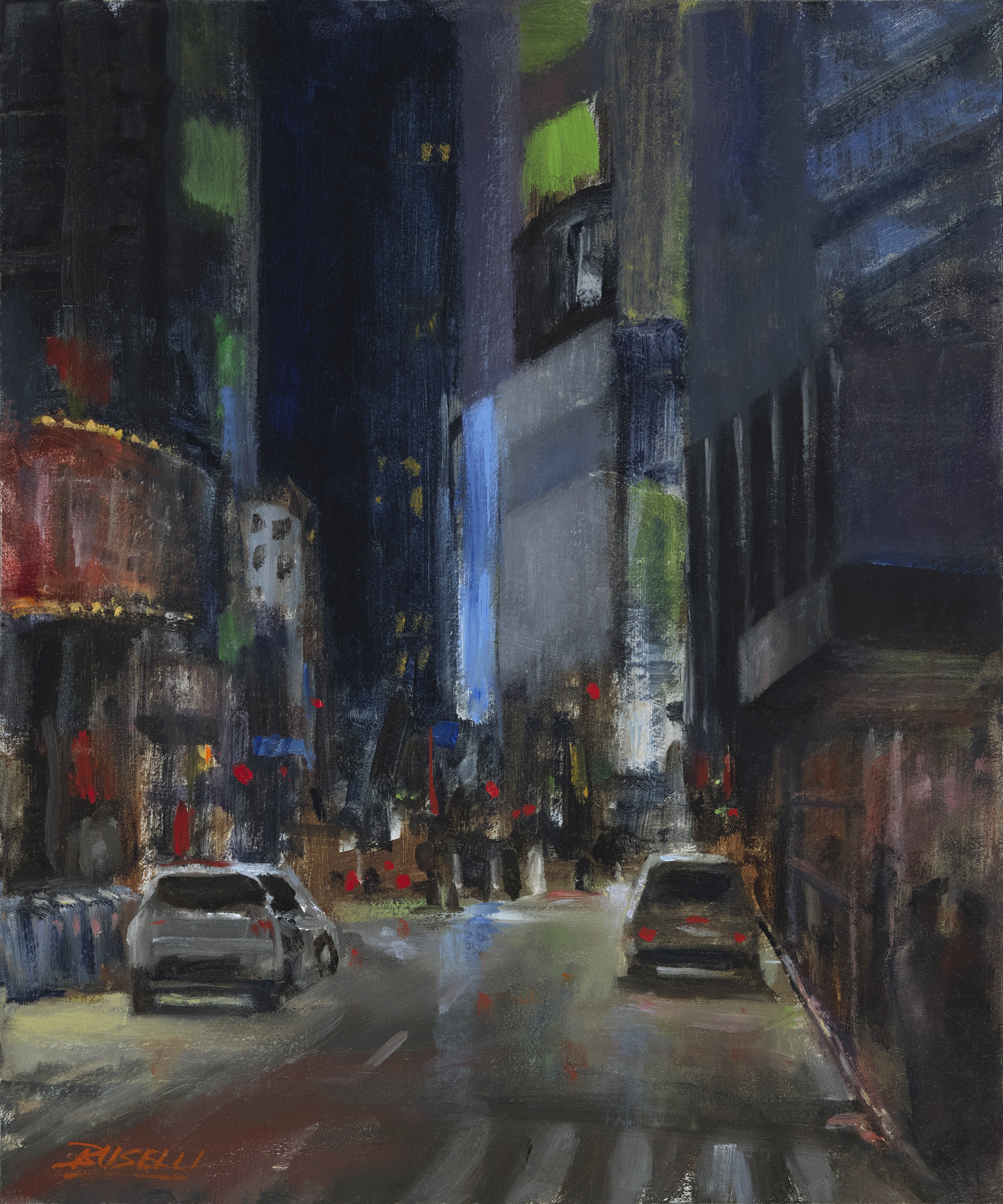 """""""TIMES SQUARE AT MIDNIGHT AFTER THE RAIN""""  oil on linen   12' X 10'"""