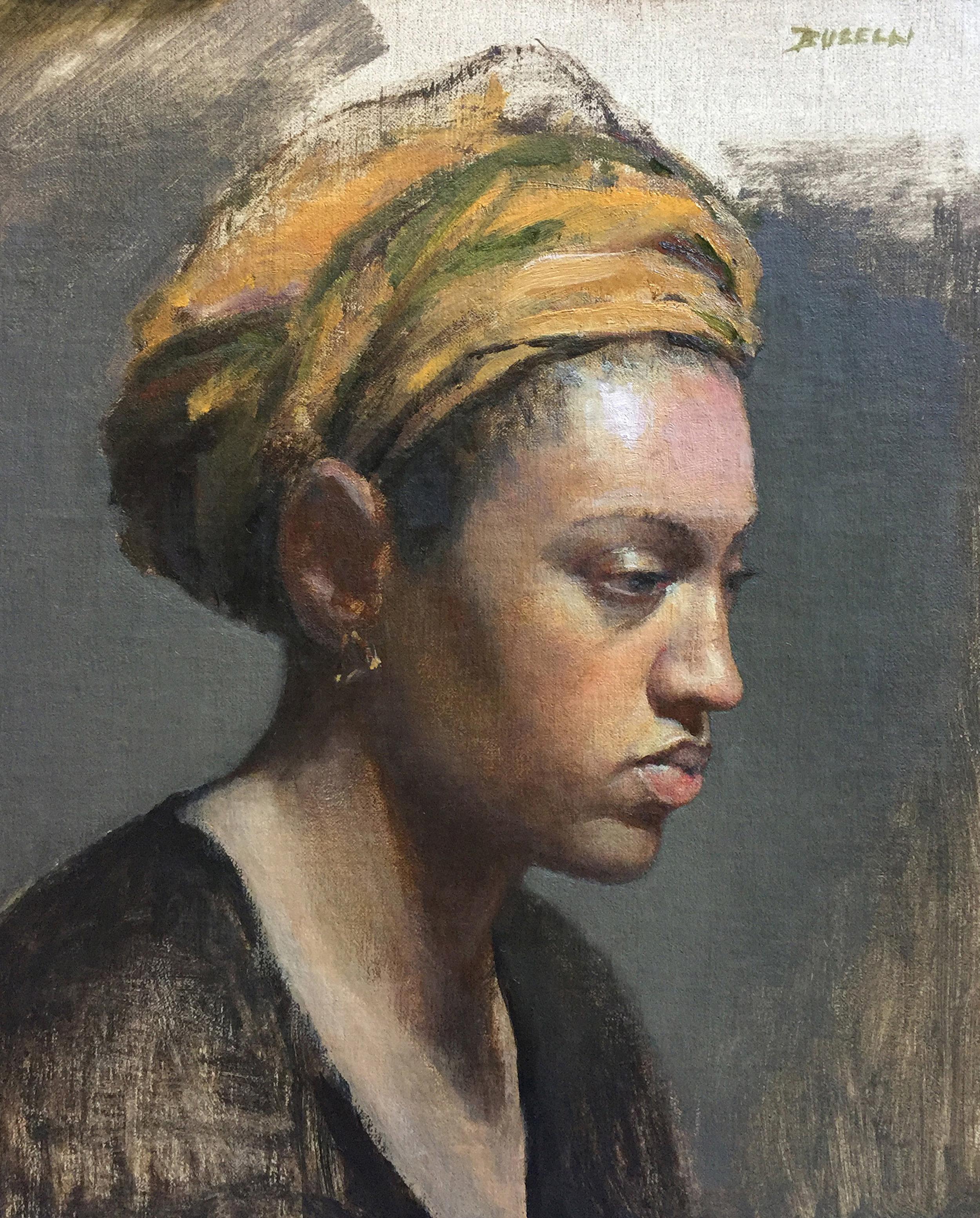 """WOMAN IN TURBAN""  oil on linen | 12"" x 10"""
