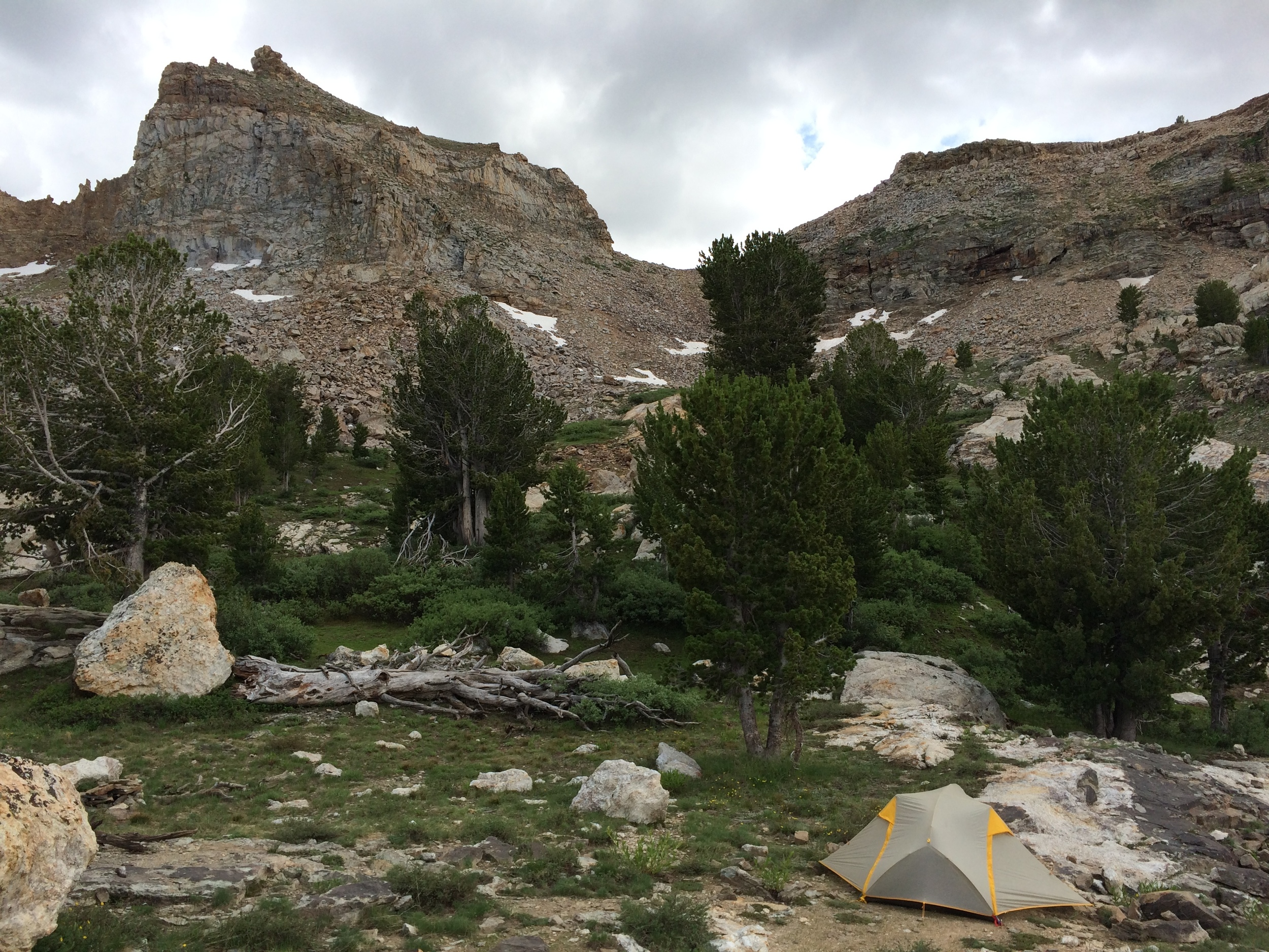 Our campsite in upper Right Fork Canyon below the saddle to Box Canyon