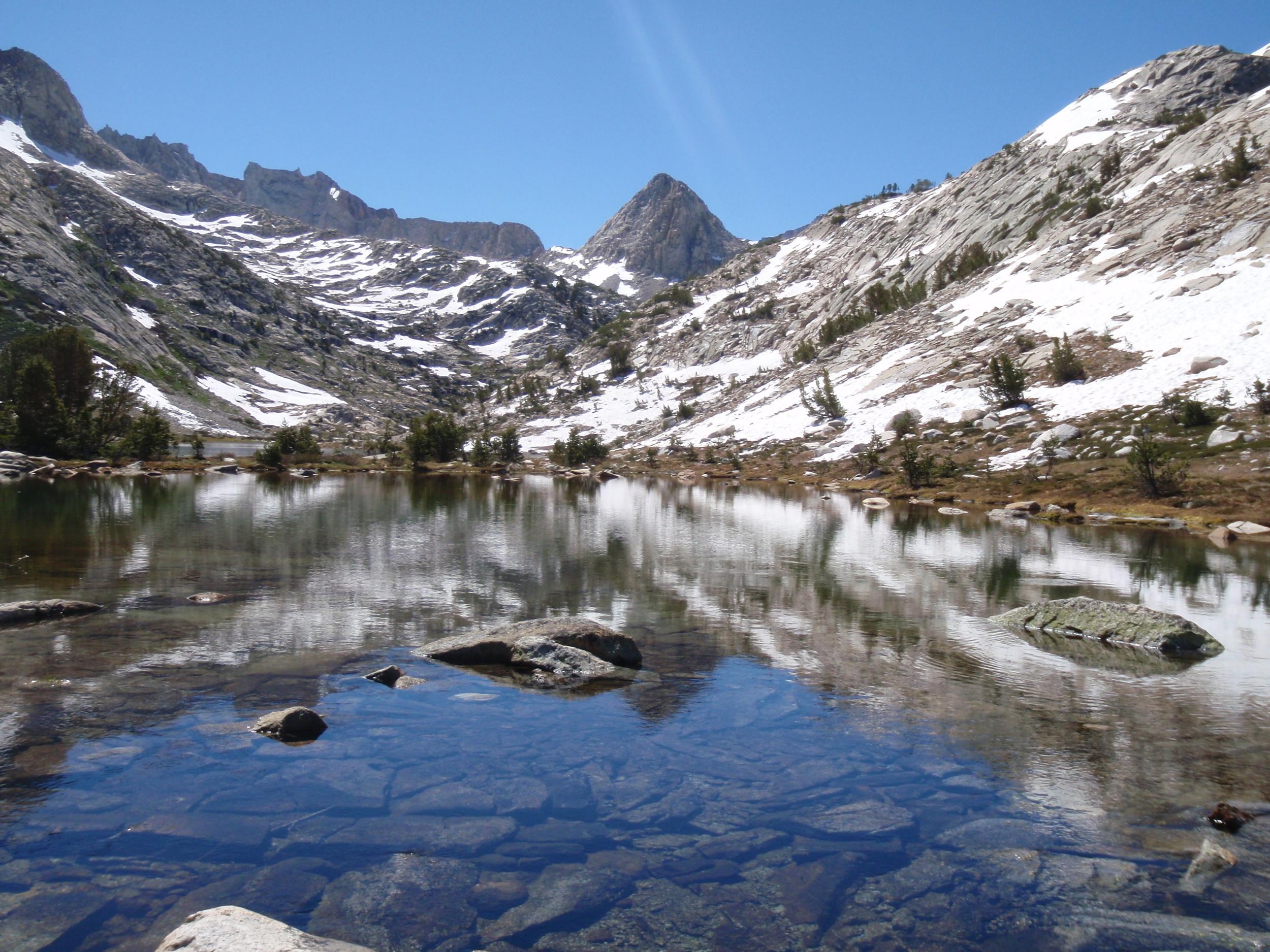 Mt Spencer reflected in Evolution Lake